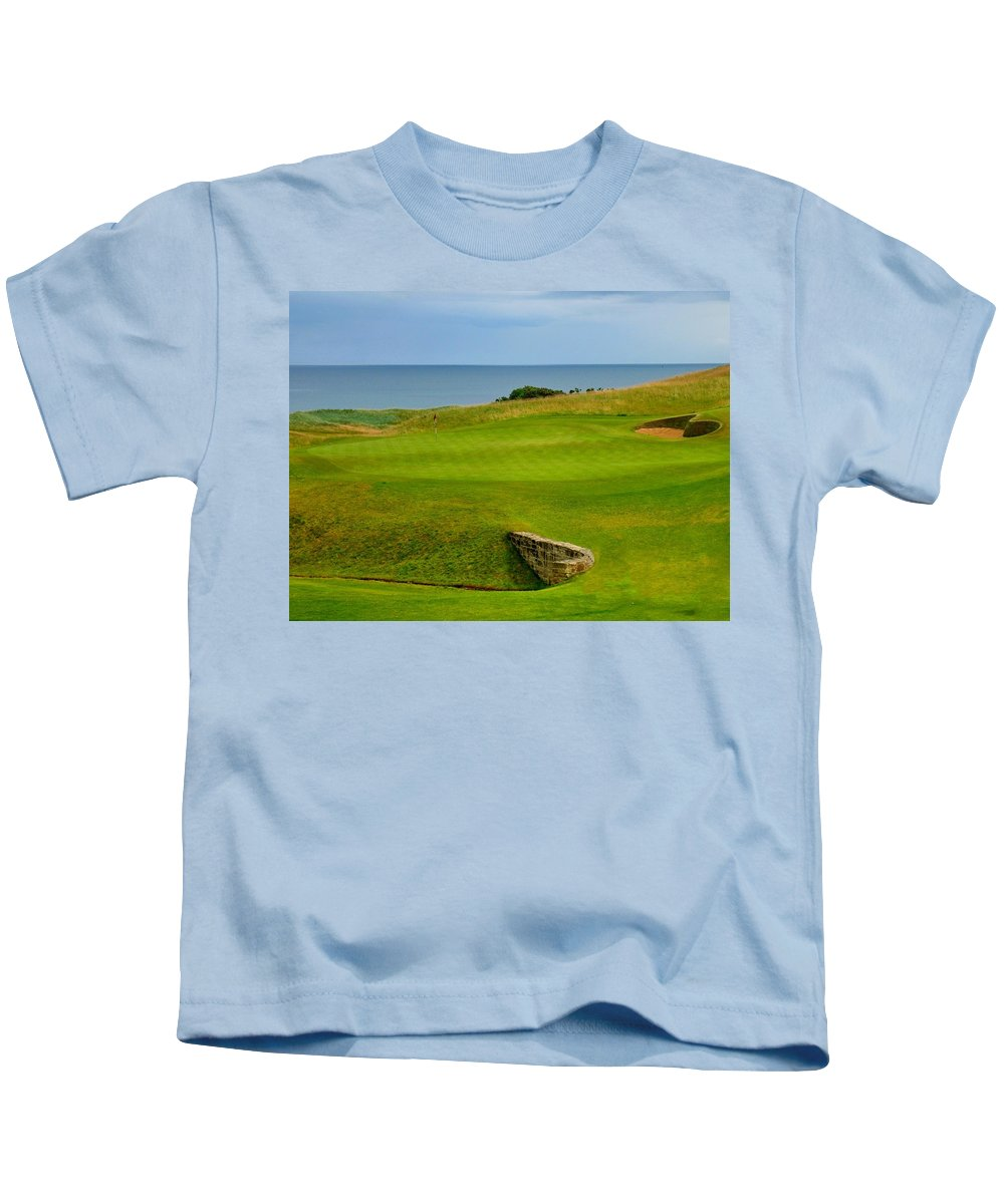 Scotland St. Andrews Saint Kingsbarns Golf Club Hole Number 18 Eighteen Green Picture Image Shot Photo Photograph Bunkers Sand Bunker Bridge Sea Ocean Firth Forth Links Course Uk United Kingdom Grass Dunes Gorse Must Play Crail Old Kids T-Shirt featuring the photograph Kingsbarns Golf Links Hole #18 by Scott Carda