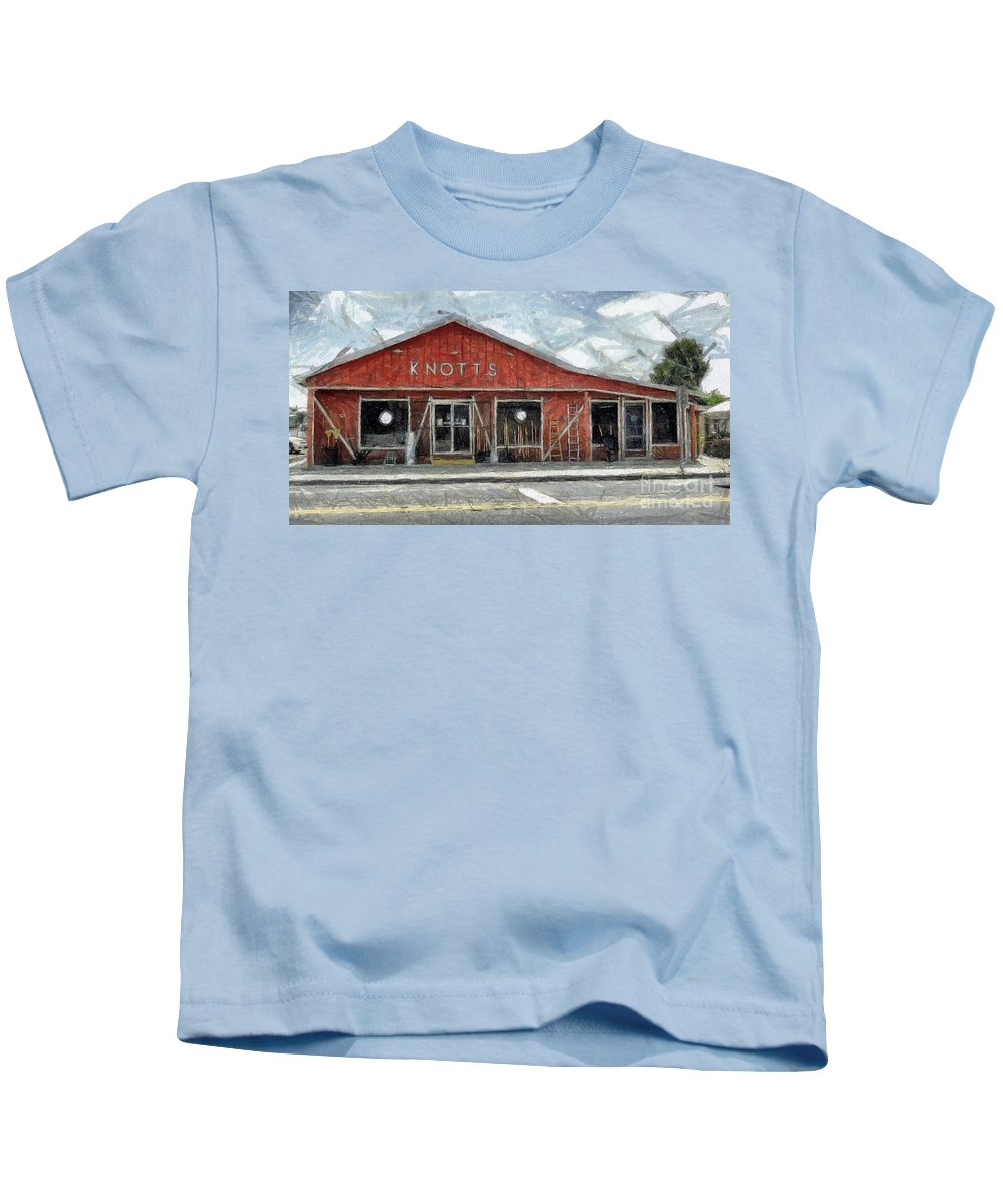 Hardware Kids T-Shirt featuring the painting Knott's Hardware by Murphy Elliott