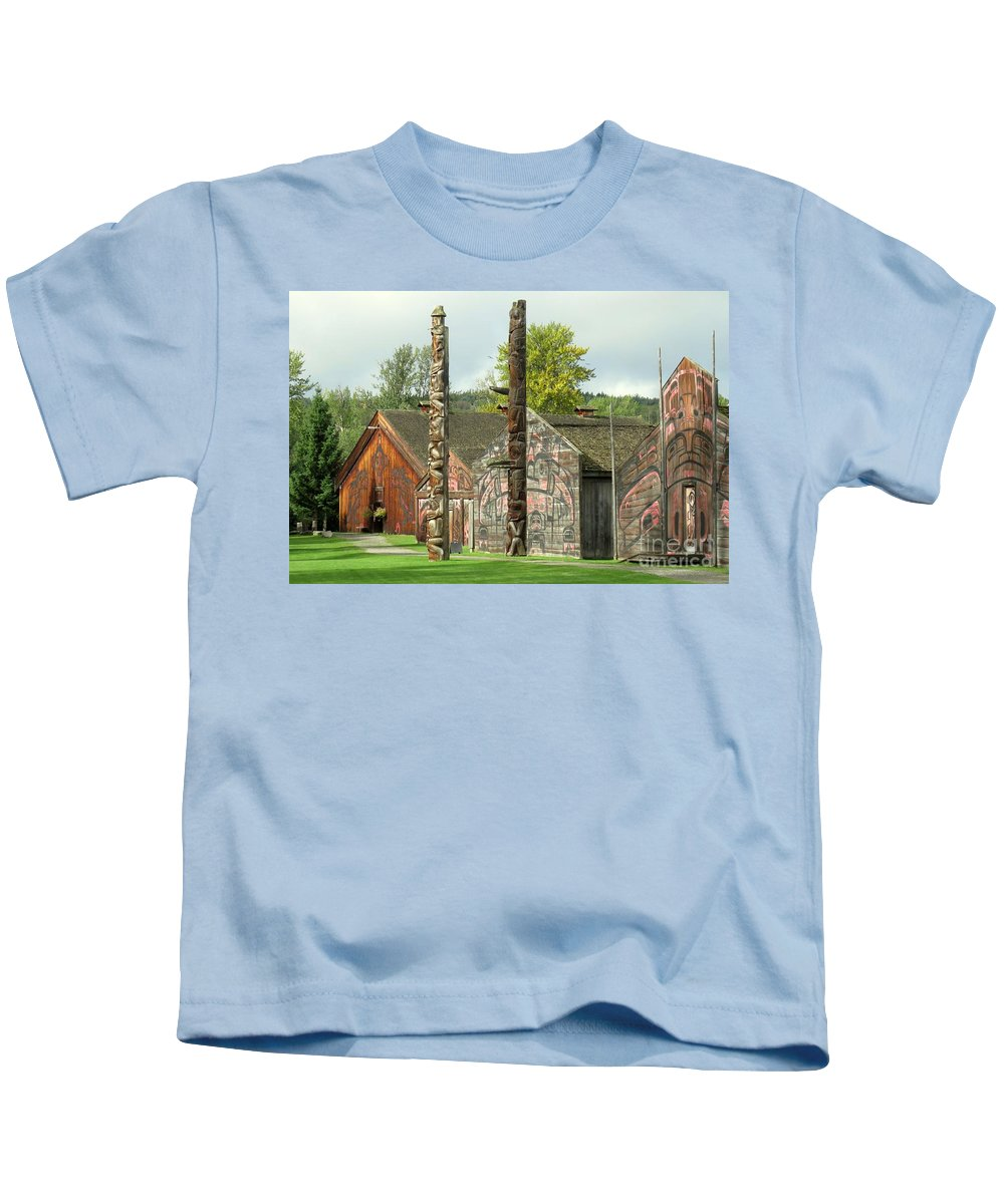 Native Kids T-Shirt featuring the photograph Ksan Historical Village by Frank Townsley