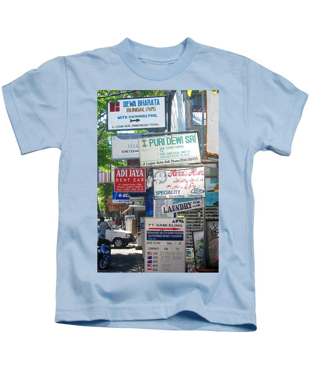 Bali Kids T-Shirt featuring the photograph Kuta Street Signs -- Bali by Mark Sellers