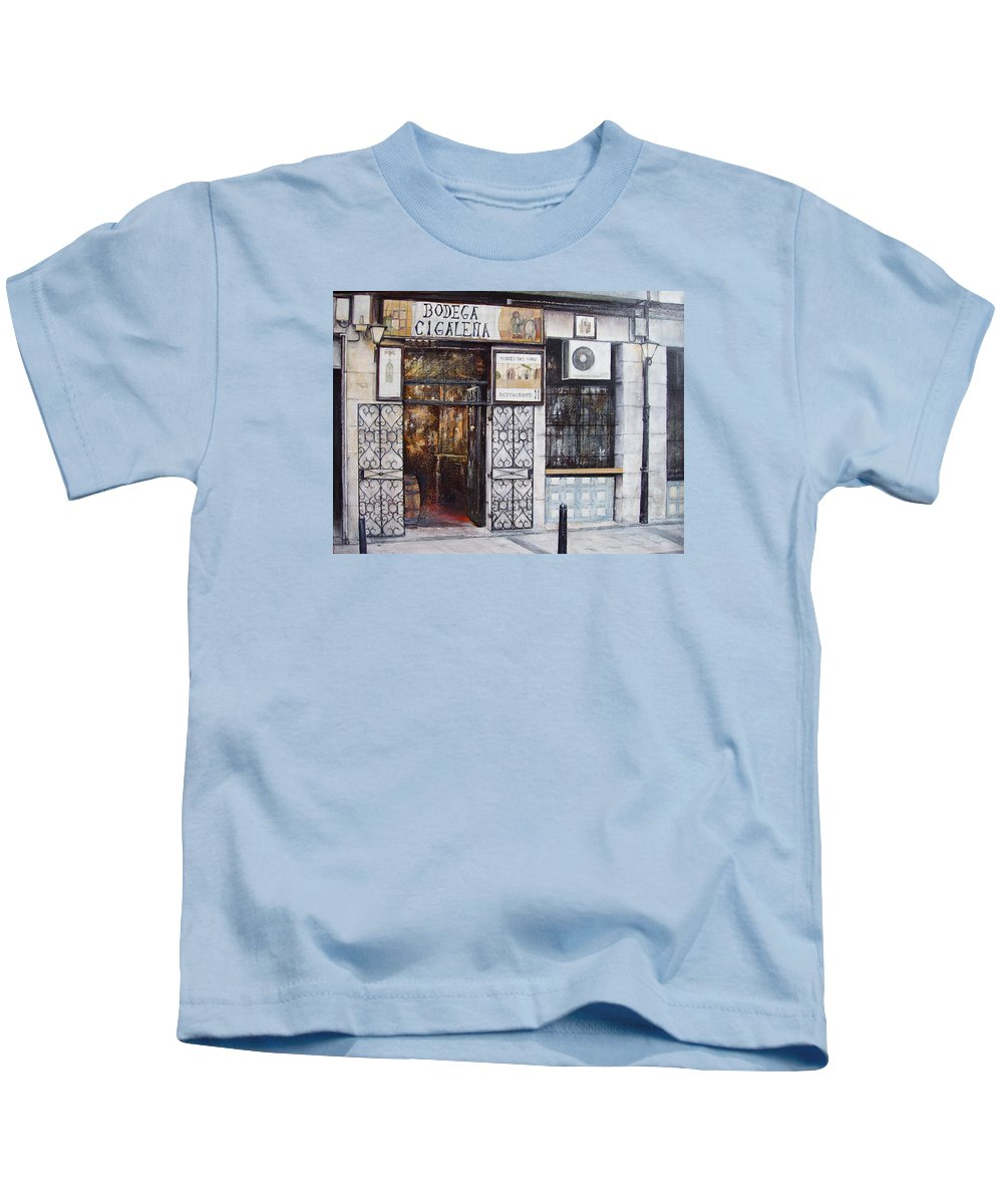 Bodega Kids T-Shirt featuring the painting La Cigalena Old Restaurant by Tomas Castano