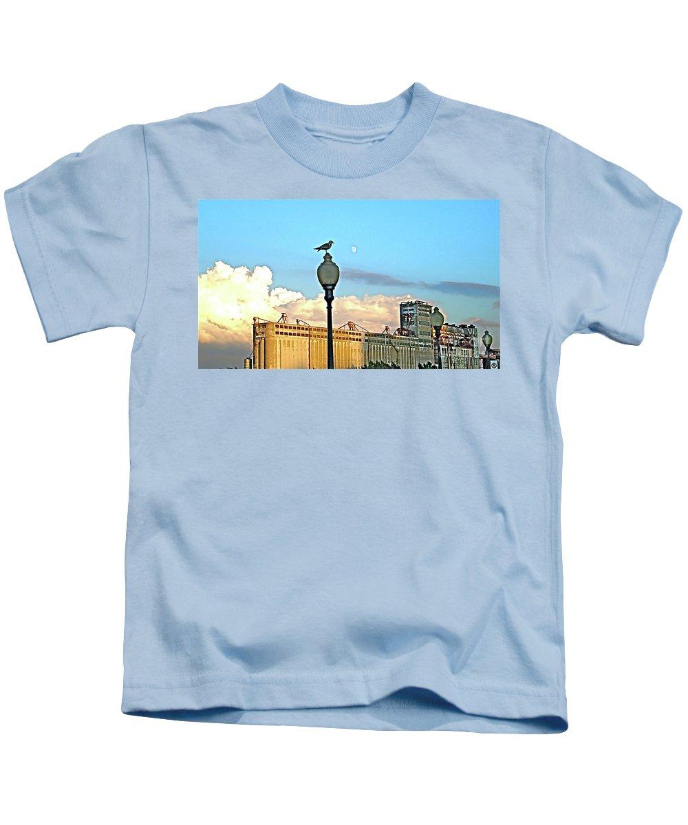 Moon Kids T-Shirt featuring the photograph La Lune L'oiseau L'usine by Contemporary Luxury Fine Art