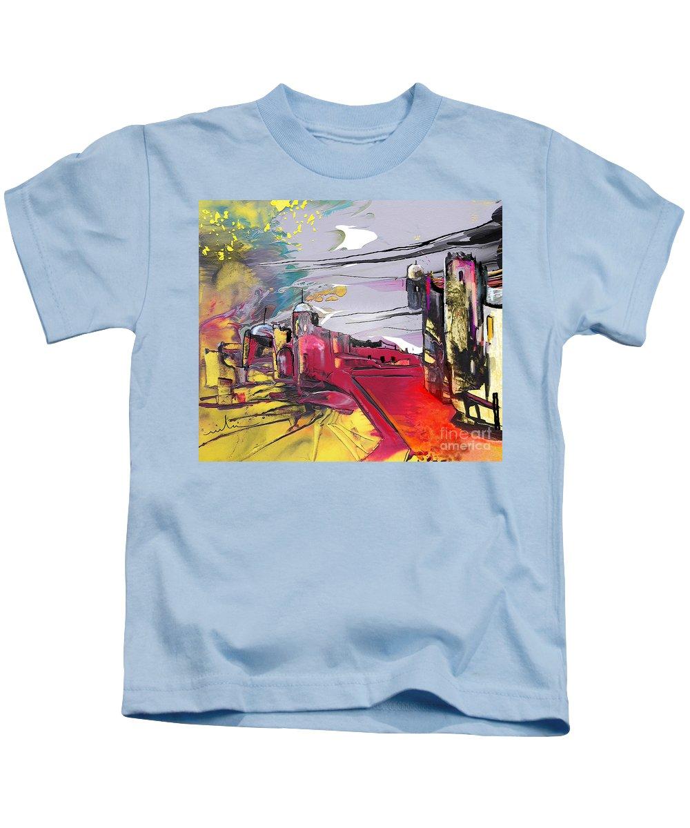 Landscape Kids T-Shirt featuring the painting La Place Rouge Espagnole by Miki De Goodaboom