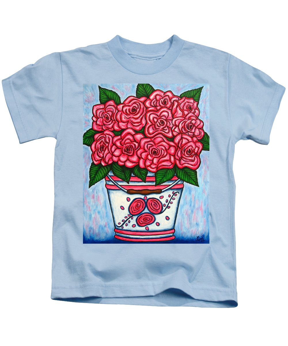 Rose Kids T-Shirt featuring the painting La Vie En Rose by Lisa Lorenz