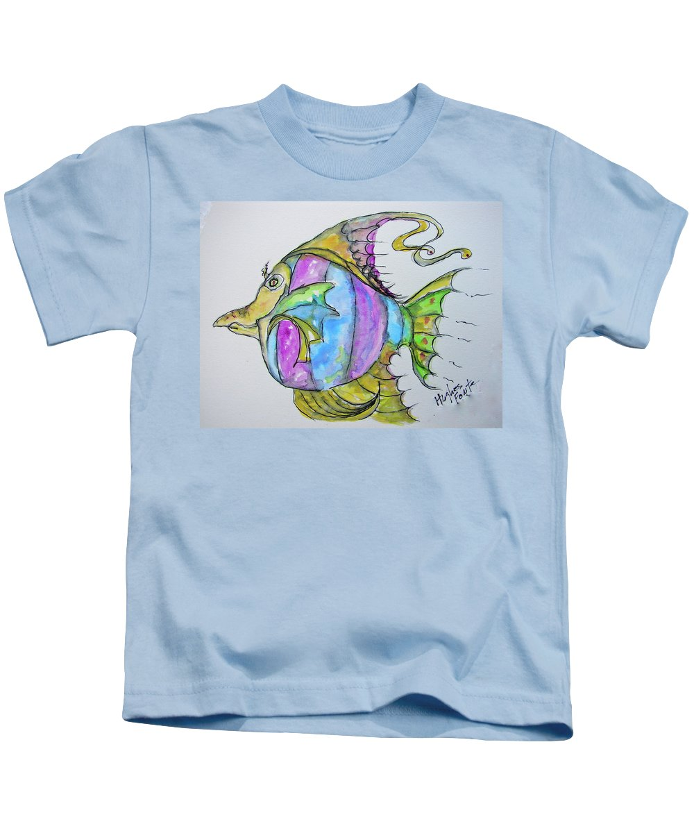 Fish Kids T-Shirt featuring the painting Lady Fish by Linda Hughes-fonte