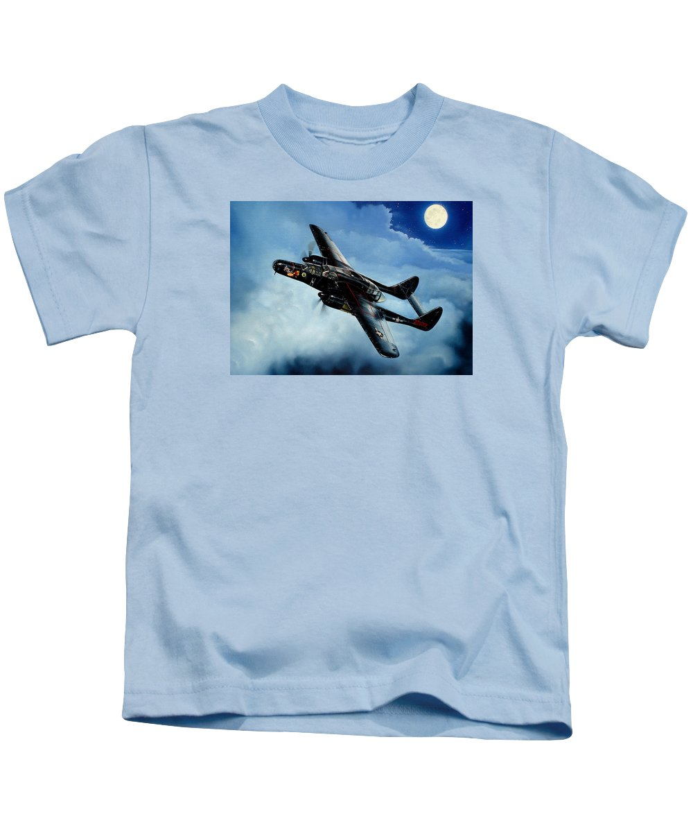Military Kids T-Shirt featuring the painting Lady In The Dark by Marc Stewart