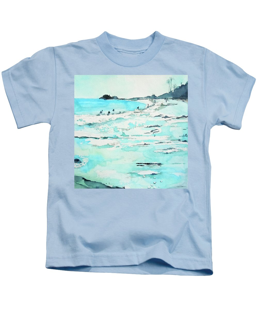 La Jolla Beach Kids T-Shirt featuring the painting Lajolla by Roleen Senic