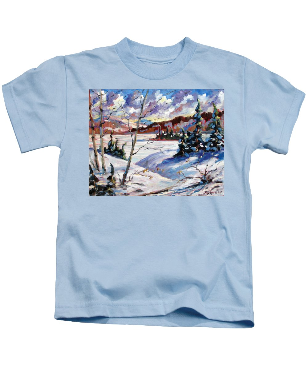 Lake Kids T-Shirt featuring the painting Lake In Winter by Richard T Pranke