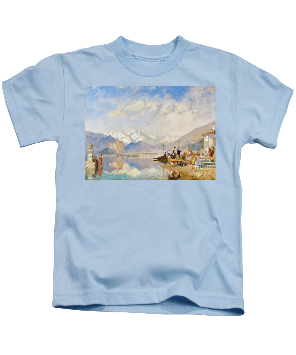 James Baker Pyne - Lake Maggiore Kids T-Shirt featuring the painting Lake Maggiore by MotionAge Designs