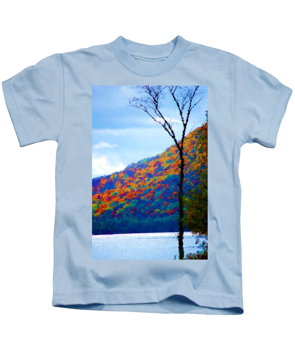 Digital Photograph Kids T-Shirt featuring the photograph Lakeside by David Lane