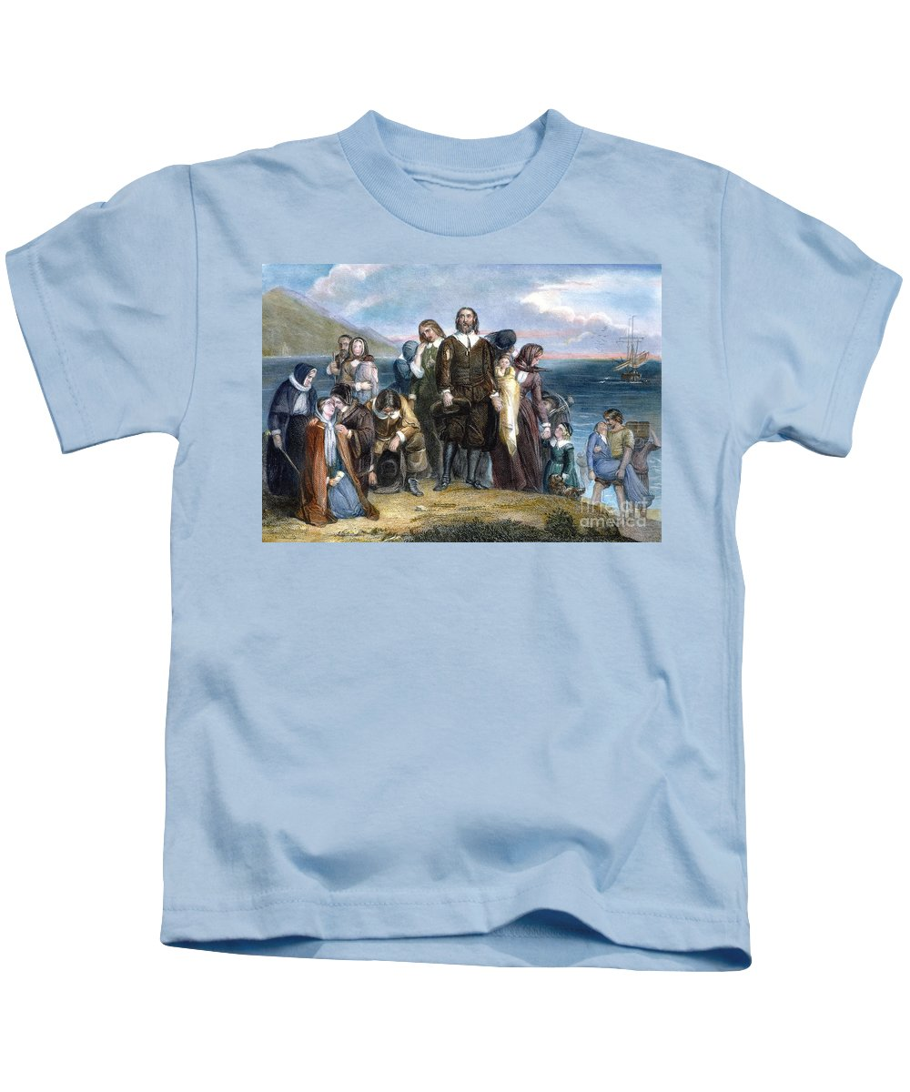 1620 Kids T-Shirt featuring the photograph Landing Of Pilgrims, 1620 by Granger