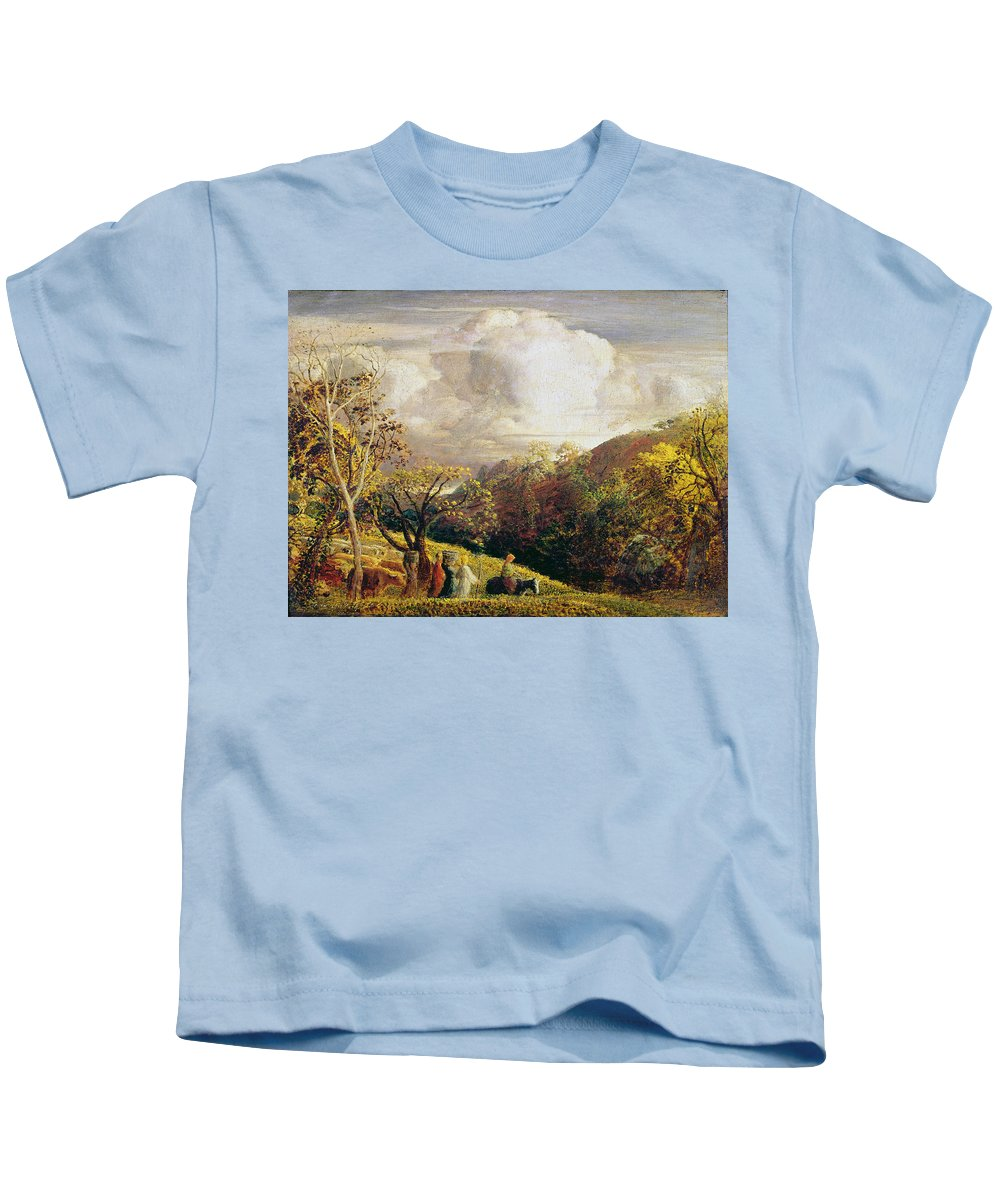 Landscape Kids T-Shirt featuring the painting Landscape Figures And Cattle by Samuel Palmer