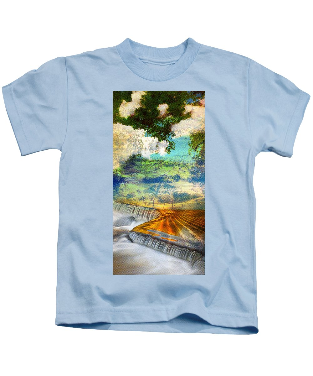 Kids T-Shirt featuring the painting Landscape by Maciej Mackiewicz