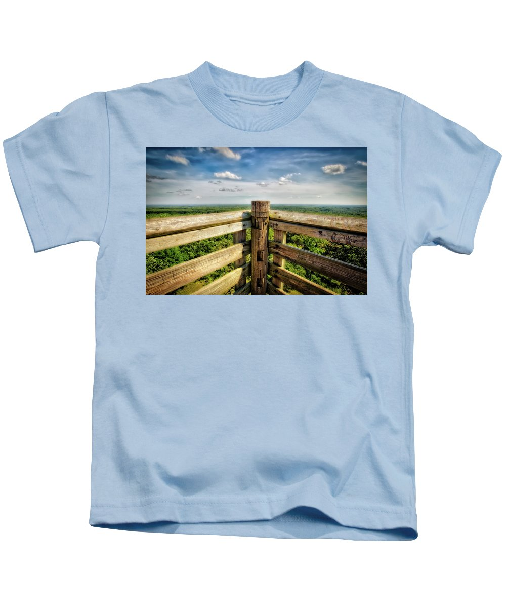 Jennifer Rondinelli Reilly Kids T-Shirt featuring the photograph Lapham Peak Wisconsin - View From Wooden Observation Tower by Jennifer Rondinelli Reilly - Fine Art Photography