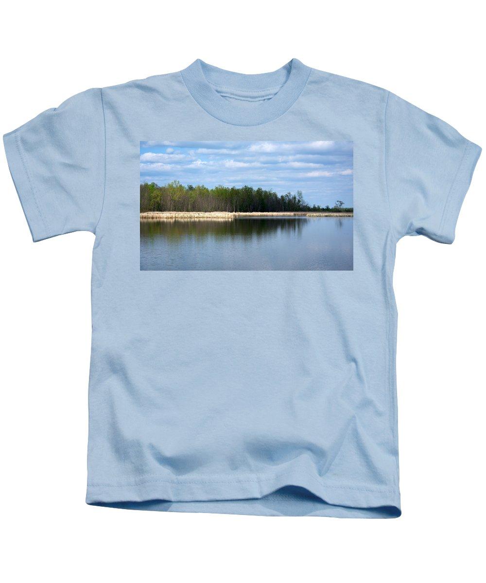 Landscape Kids T-Shirt featuring the photograph Large Pond by Linda Kerkau