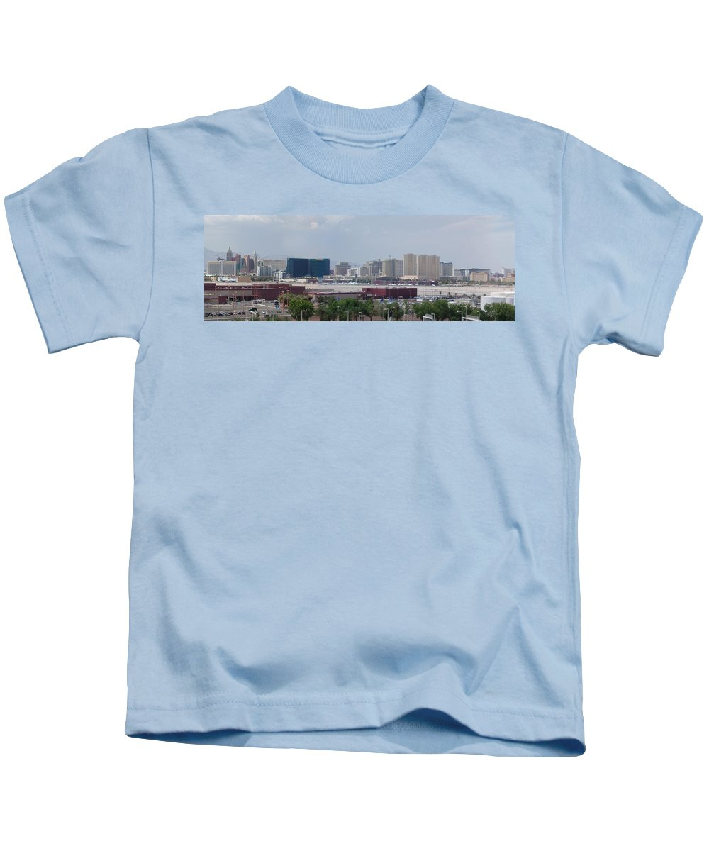 Lv Kids T-Shirt featuring the photograph Las Vegas Pano Section 2 Of 3 by Gravityx9 Designs