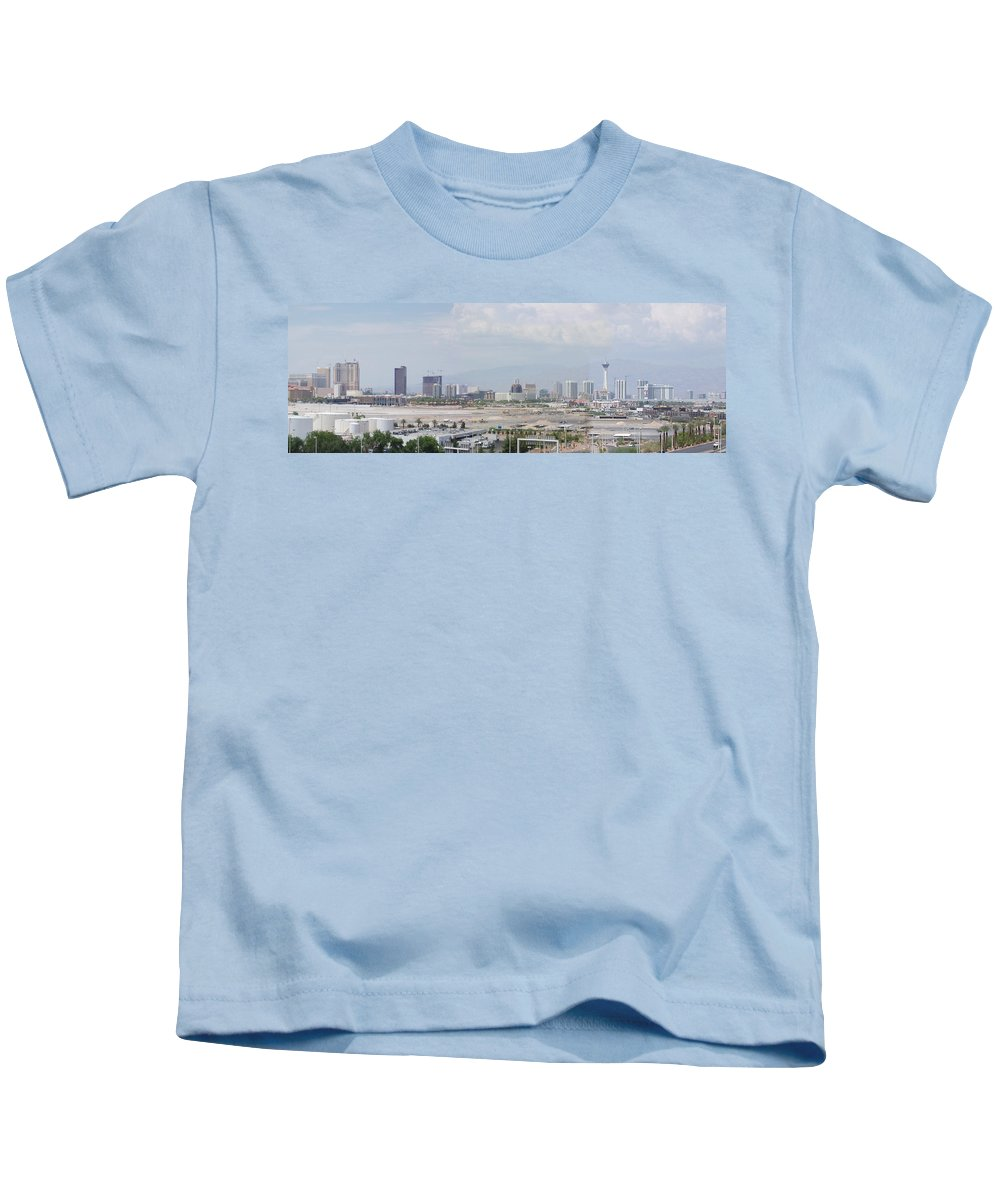 Lv Kids T-Shirt featuring the photograph Las Vegas Pano Section 3 Of 3 by Gravityx9 Designs