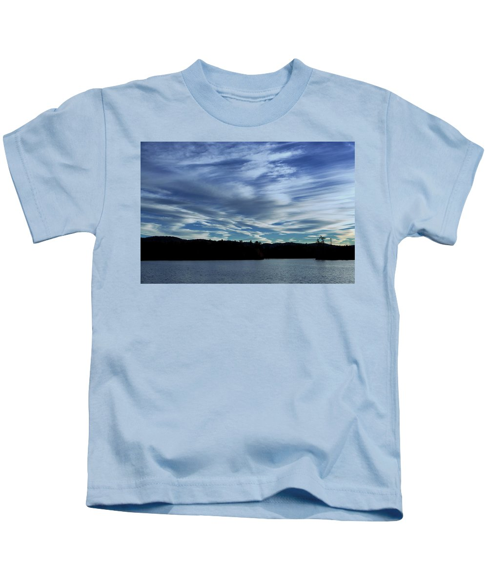 Adirondacks Mountains Kids T-Shirt featuring the photograph Late Day Clouds Over Mountainss by Anthony Paladino