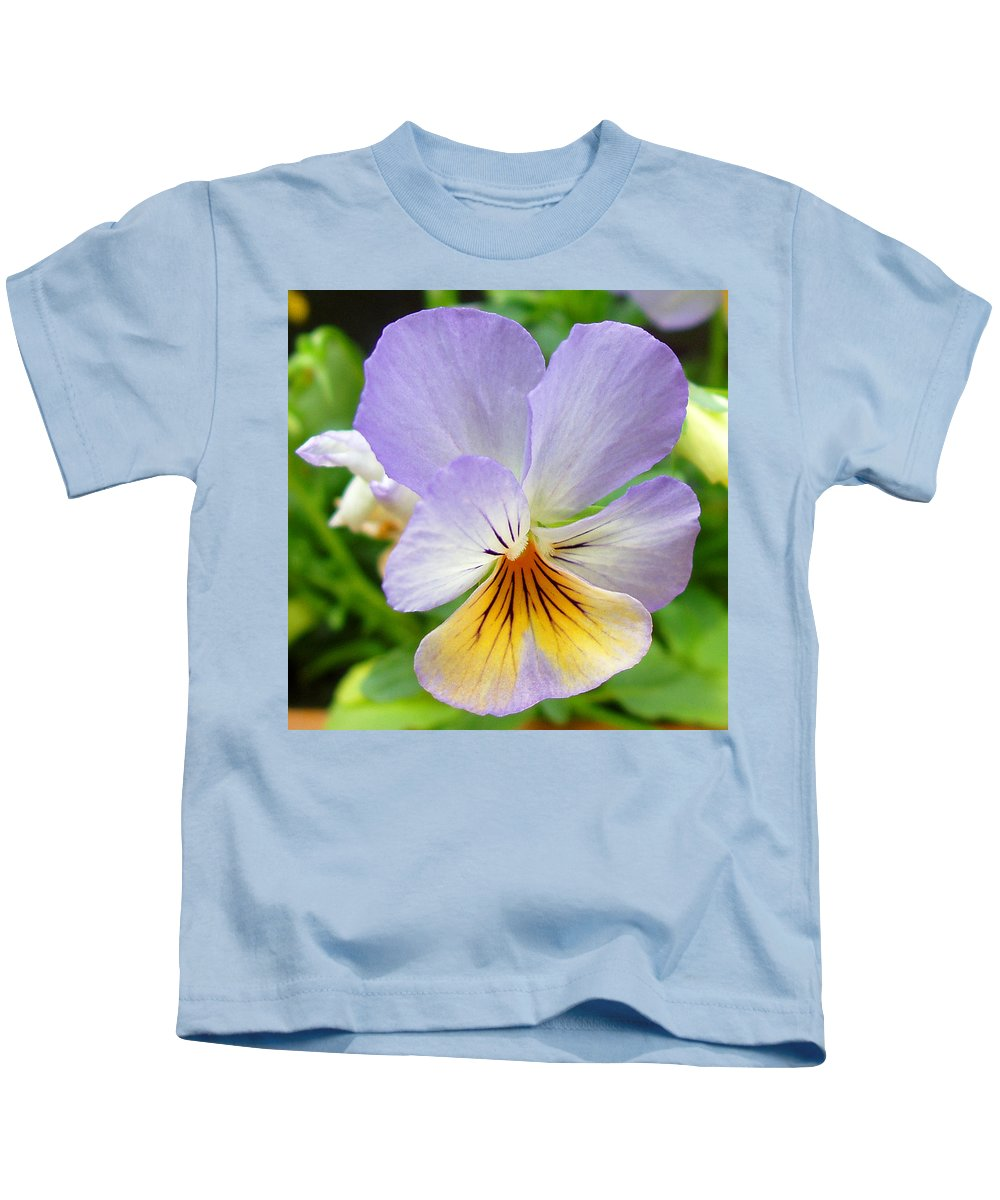 Pansy Kids T-Shirt featuring the photograph Lavender Pansy by Nancy Mueller