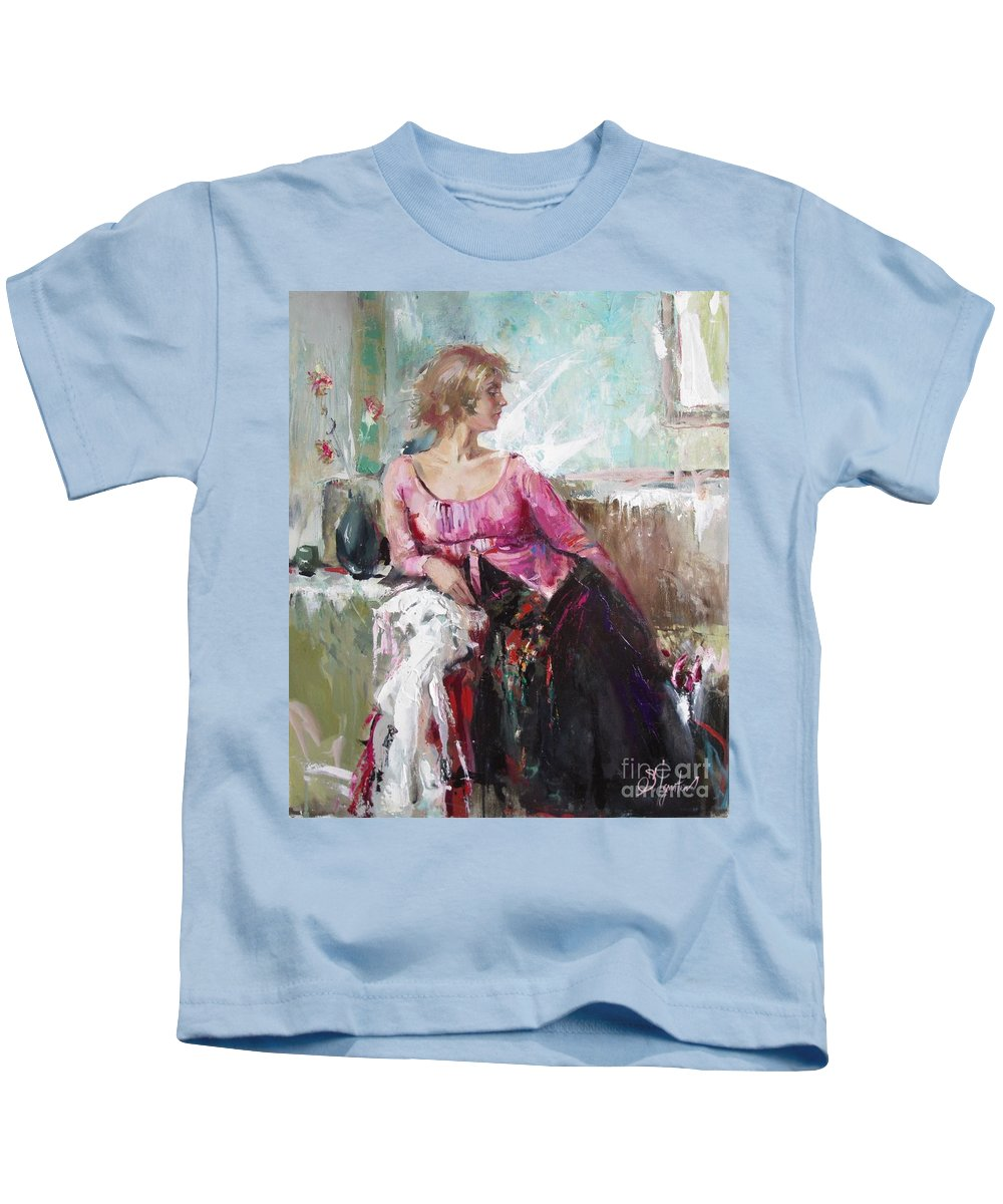 Ignatenko Kids T-Shirt featuring the painting Lera by Sergey Ignatenko