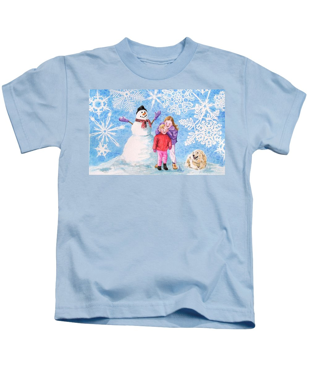 Snowman Kids T-Shirt featuring the painting Let It Snow by Gale Cochran-Smith