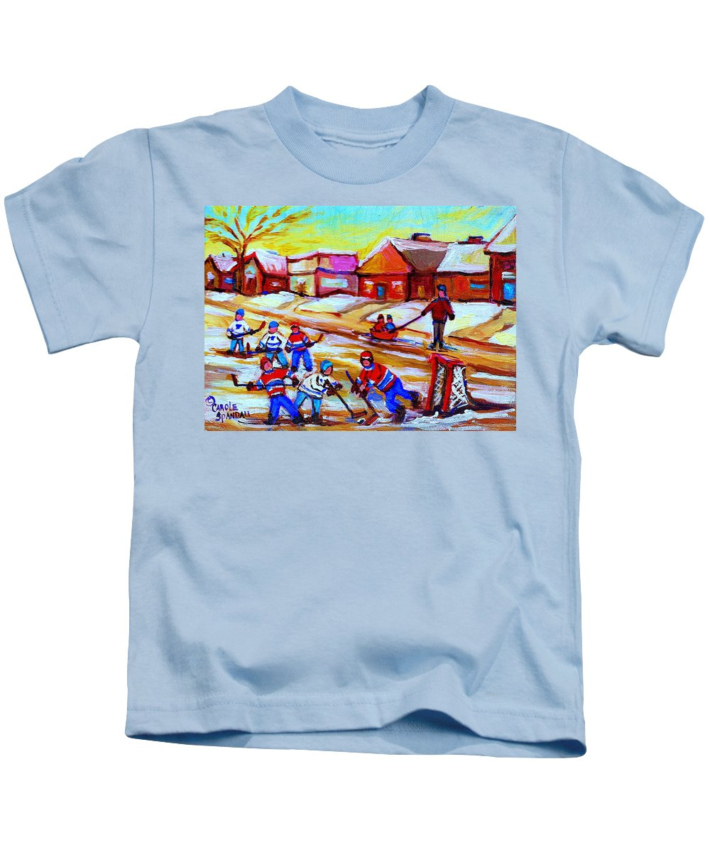 Hockey Canvas Prints Kids T-Shirt featuring the painting Lets Play Hockey by Carole Spandau