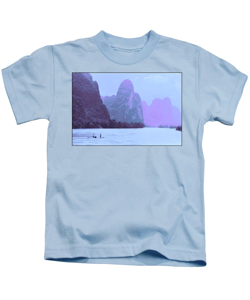 Prc Kids T-Shirt featuring the photograph Li River Boaters by Steven Hlavac