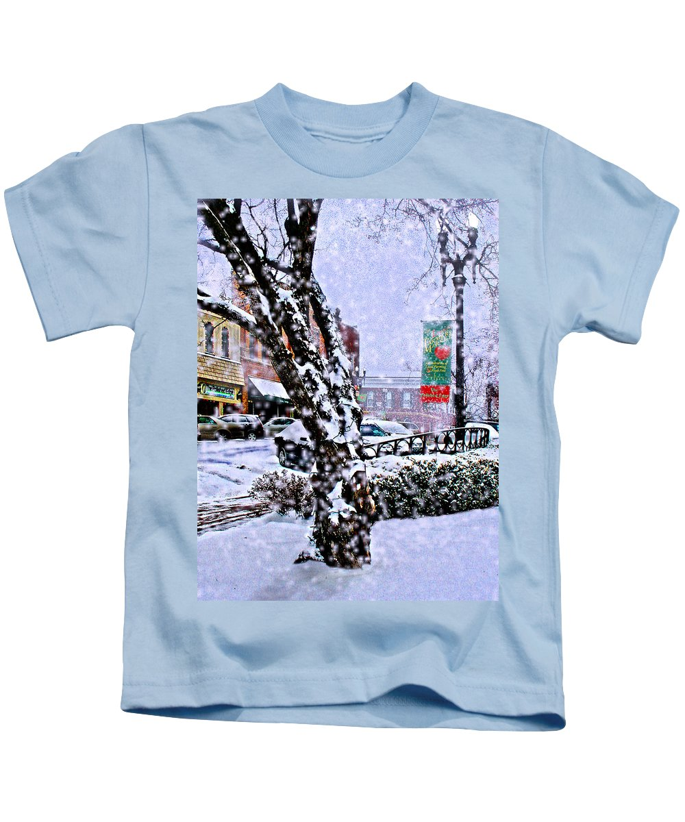 Landscape Kids T-Shirt featuring the photograph Liberty Square In Winter by Steve Karol