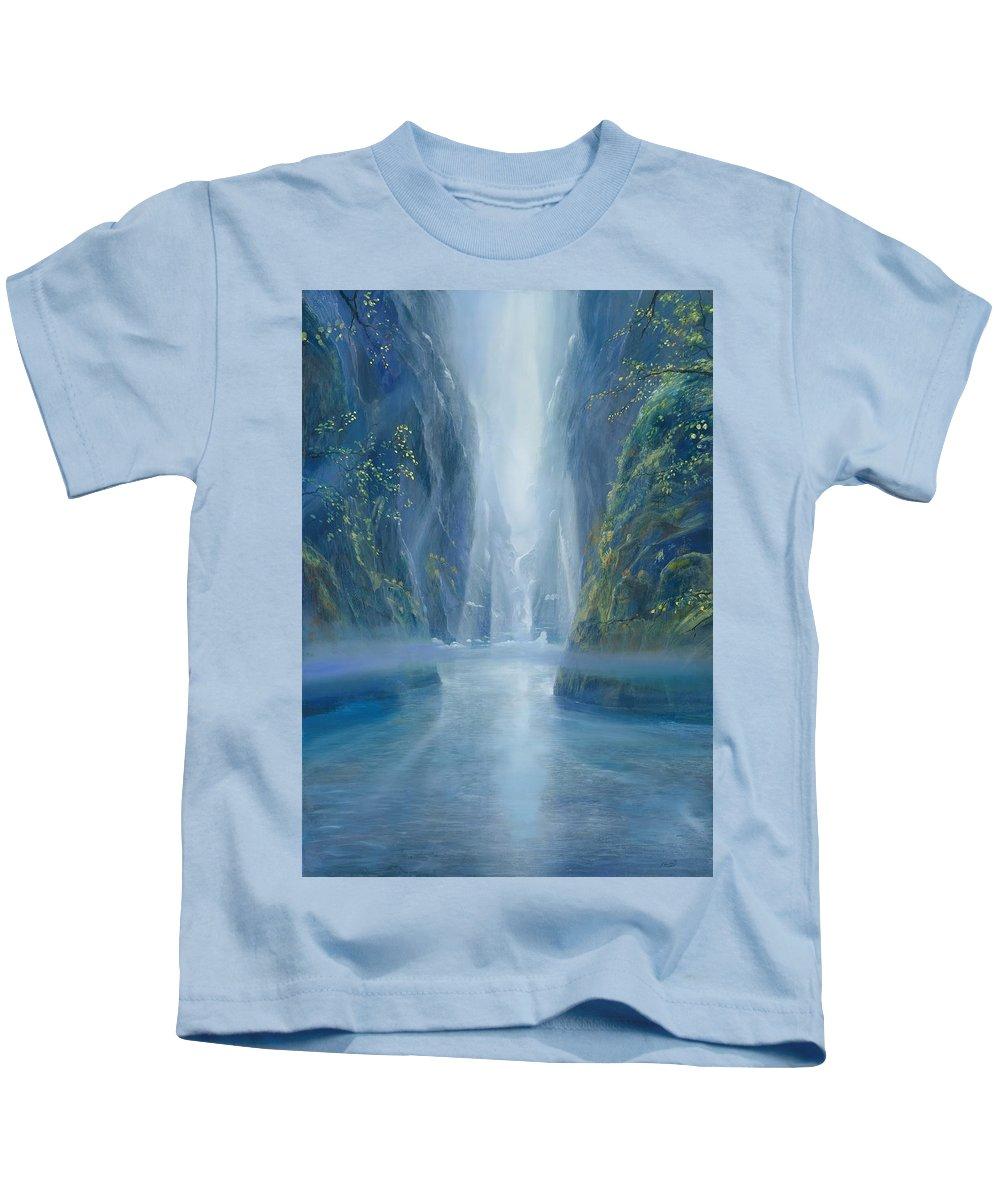 Blue Kids T-Shirt featuring the painting Light Idea by Silvian Sternhagel