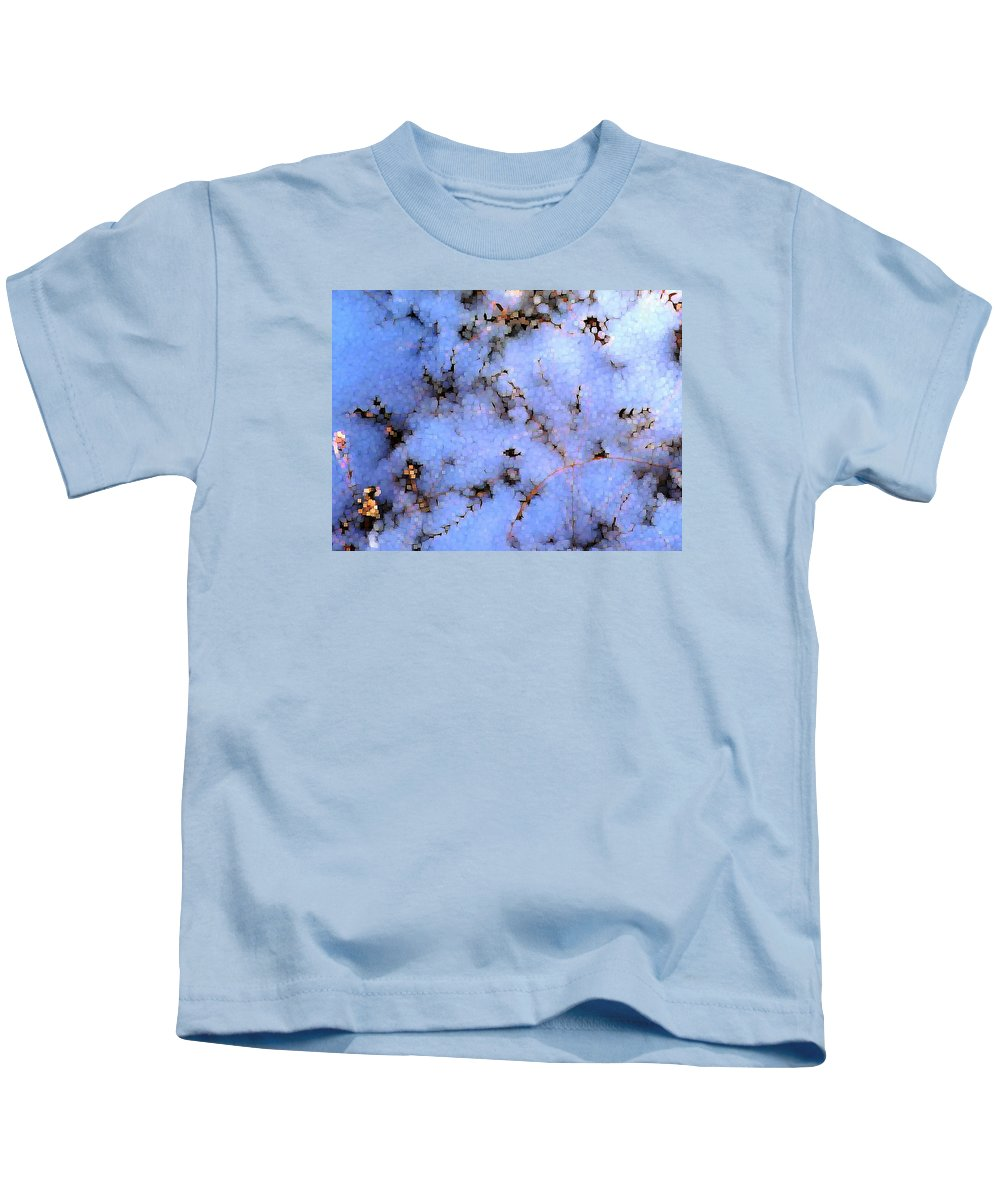 Abstract Kids T-Shirt featuring the digital art Light Snow In The Woods by Dave Martsolf