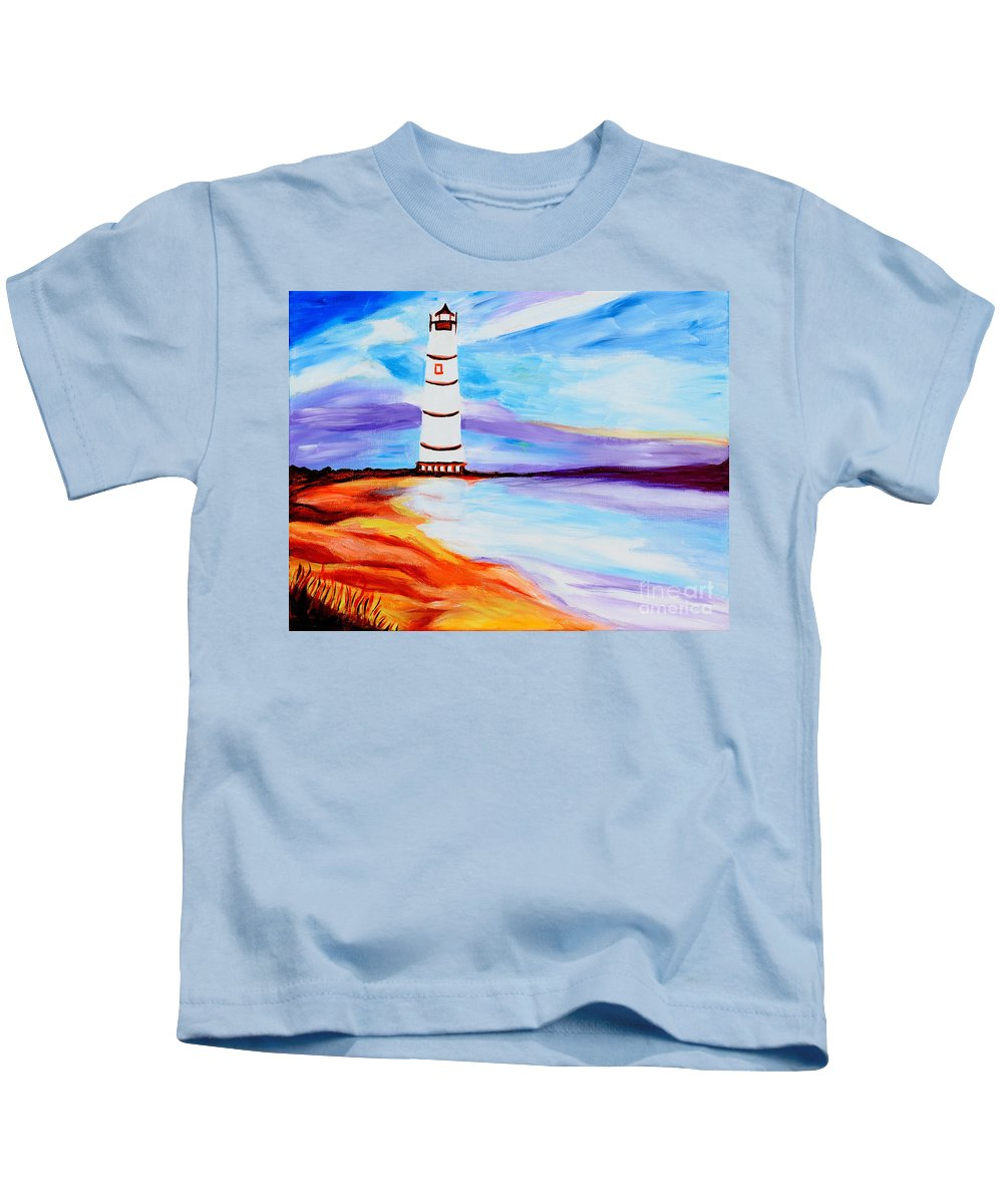 Lighthouse Kids T-Shirt featuring the painting Lighthouse By The Sea by Art by Danielle