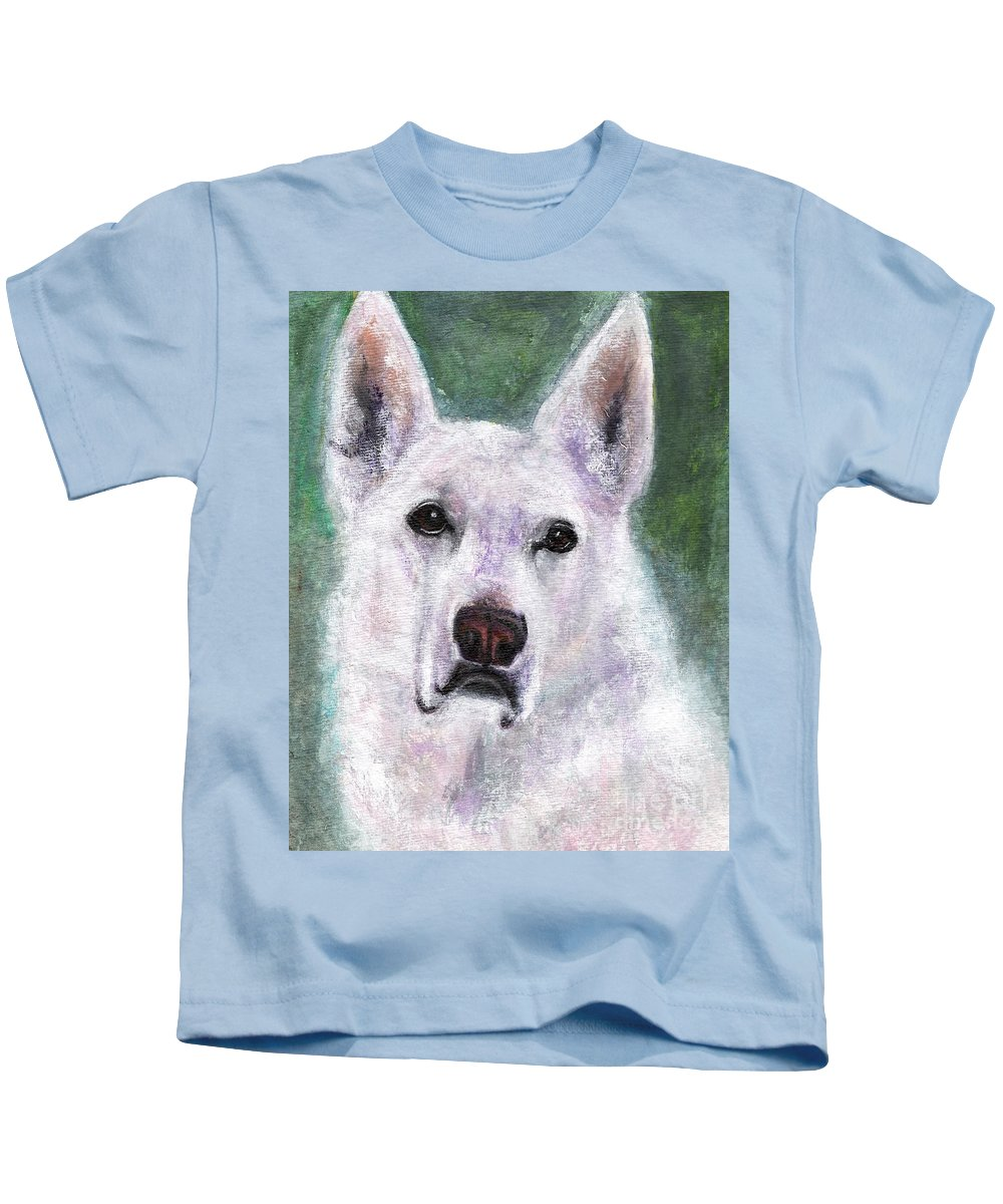 German Shepard Kids T-Shirt featuring the painting Lily by Frances Marino