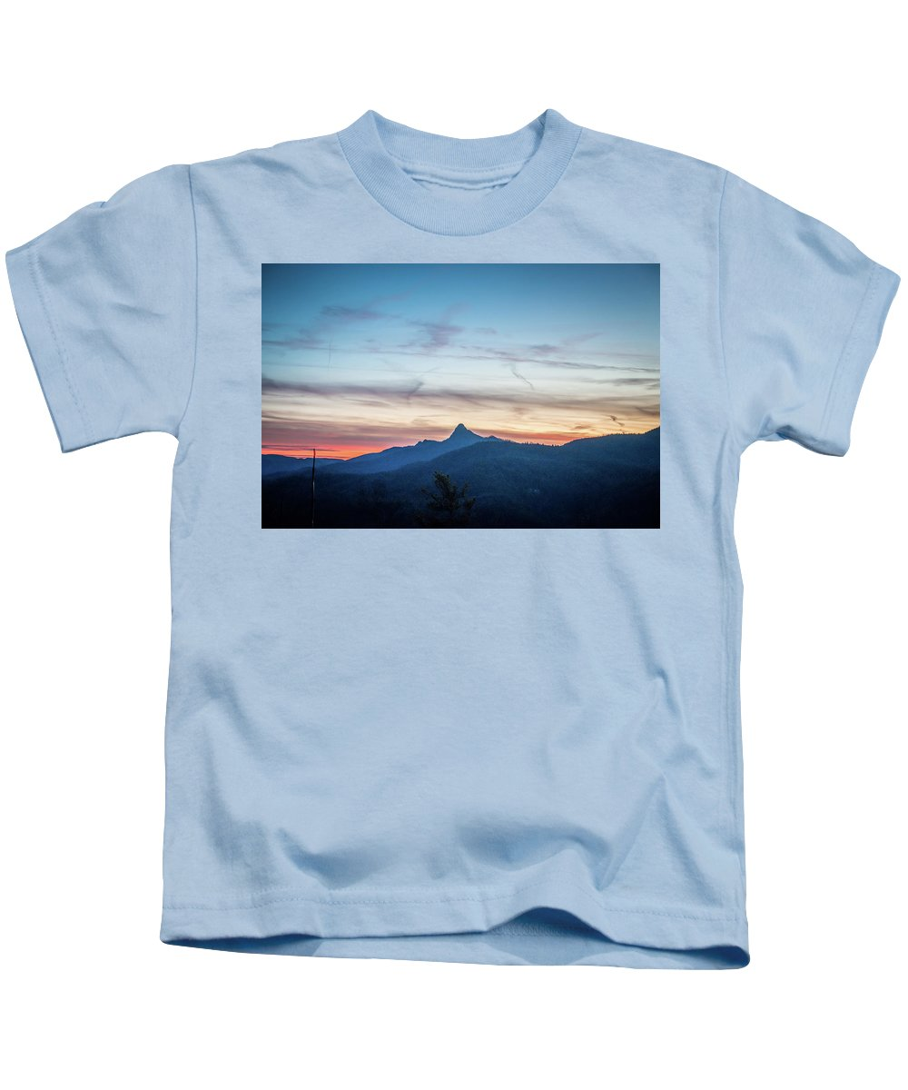 181 Kids T-Shirt featuring the photograph Linville Gorge Wilderness Mountains At Sunset by Alex Grichenko