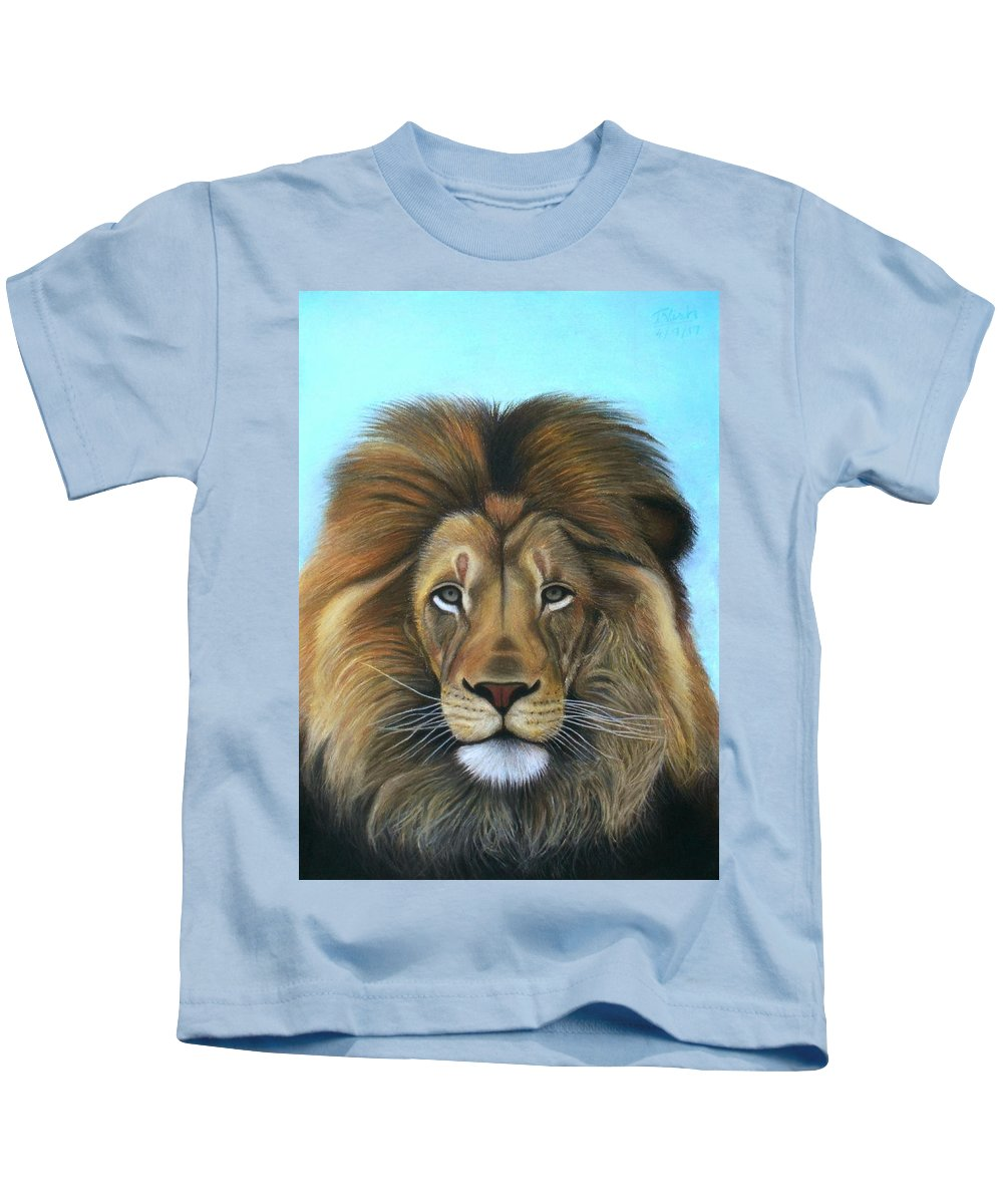 Lion Kids T-Shirt featuring the pastel Lion - The Majesty by Vishvesh Tadsare