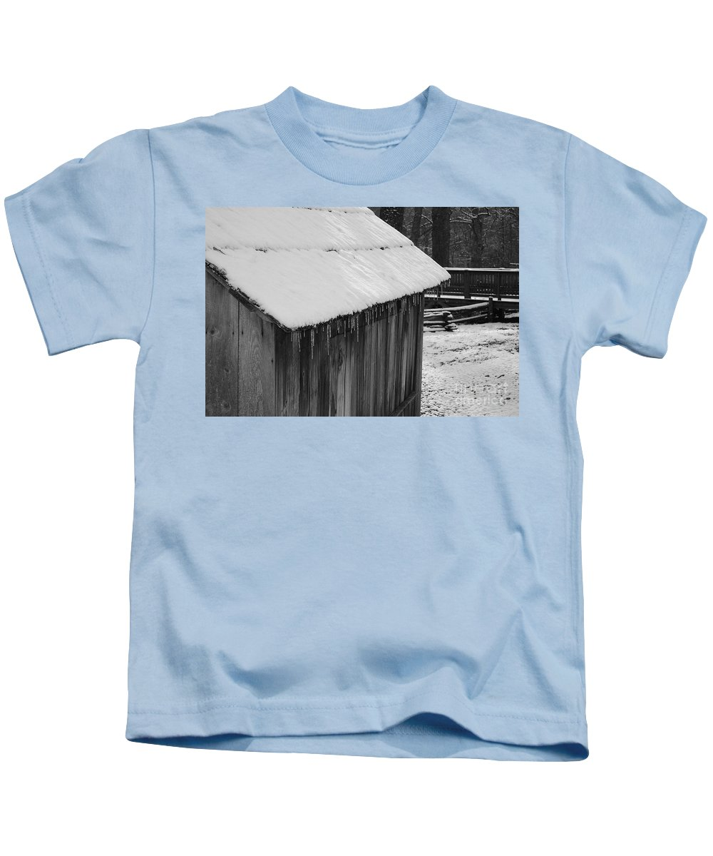 Landscape Kids T-Shirt featuring the photograph Little Brown Shed by Eric Liller