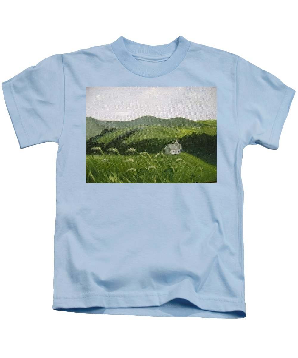 Landscape Kids T-Shirt featuring the painting Little Schoolhouse On The Hill by Toni Berry