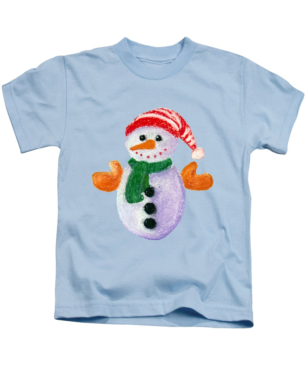 Decorative Kids T-Shirt featuring the painting Little Snowman by Anastasiya Malakhova