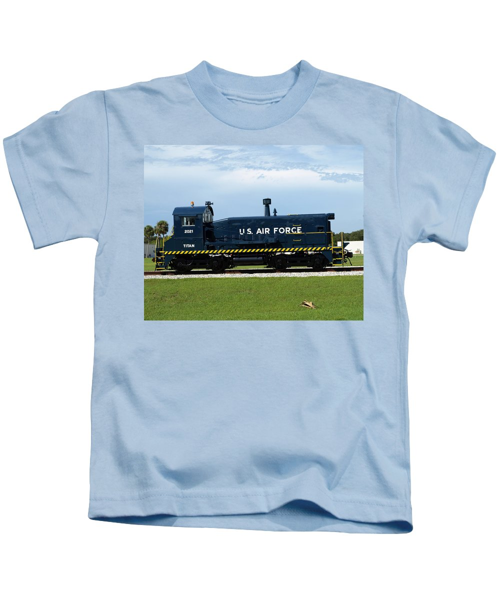 Airforce; Air Force; Air; Force; U.s.; Locomotive; Engine; Rail; Road; Railroad; Railway; Train; Gro Kids T-Shirt featuring the photograph Locomotive For Titan Rockets At Cape Canaveral In Florida by Allan Hughes