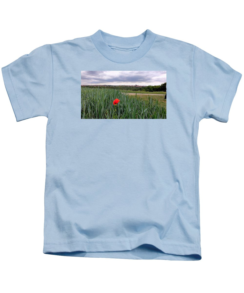 Flowers Kids T-Shirt featuring the photograph Lone Poppy Amongst Field Of Hops by Bruce Thompson