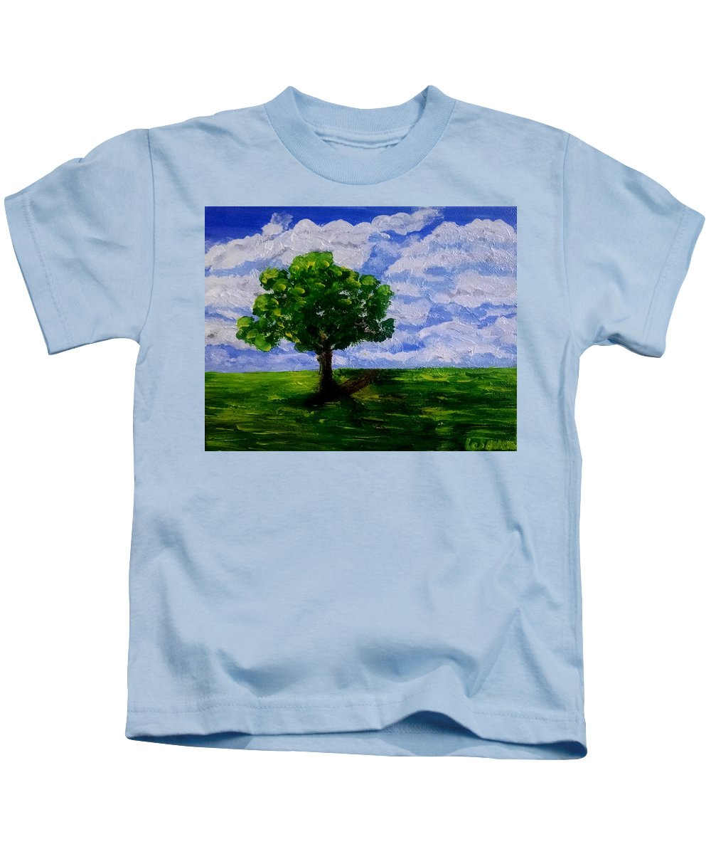 Kids T-Shirt featuring the painting Lonely Tree by Lei Wen