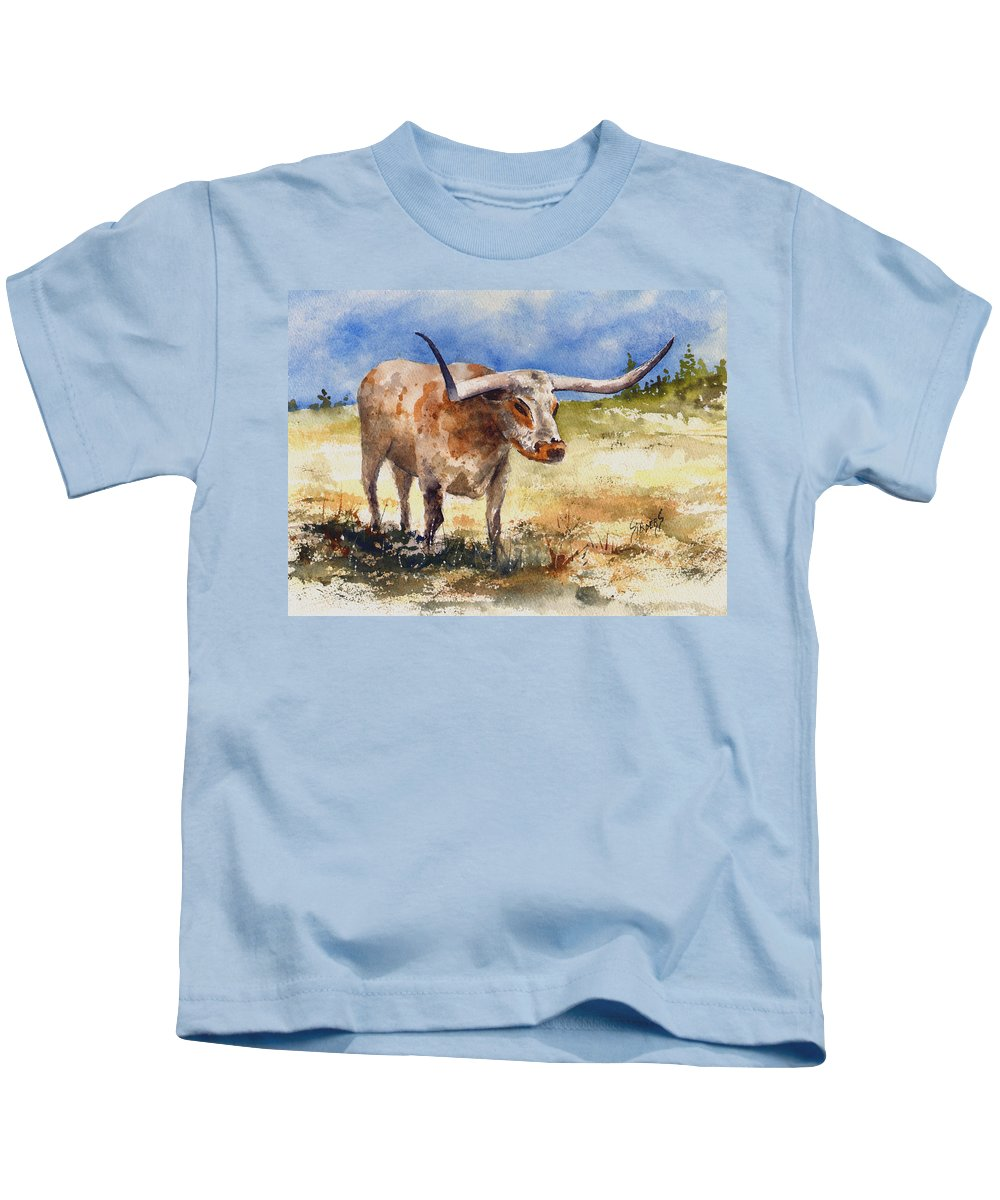 Steer Kids T-Shirt featuring the painting Longhorn by Sam Sidders