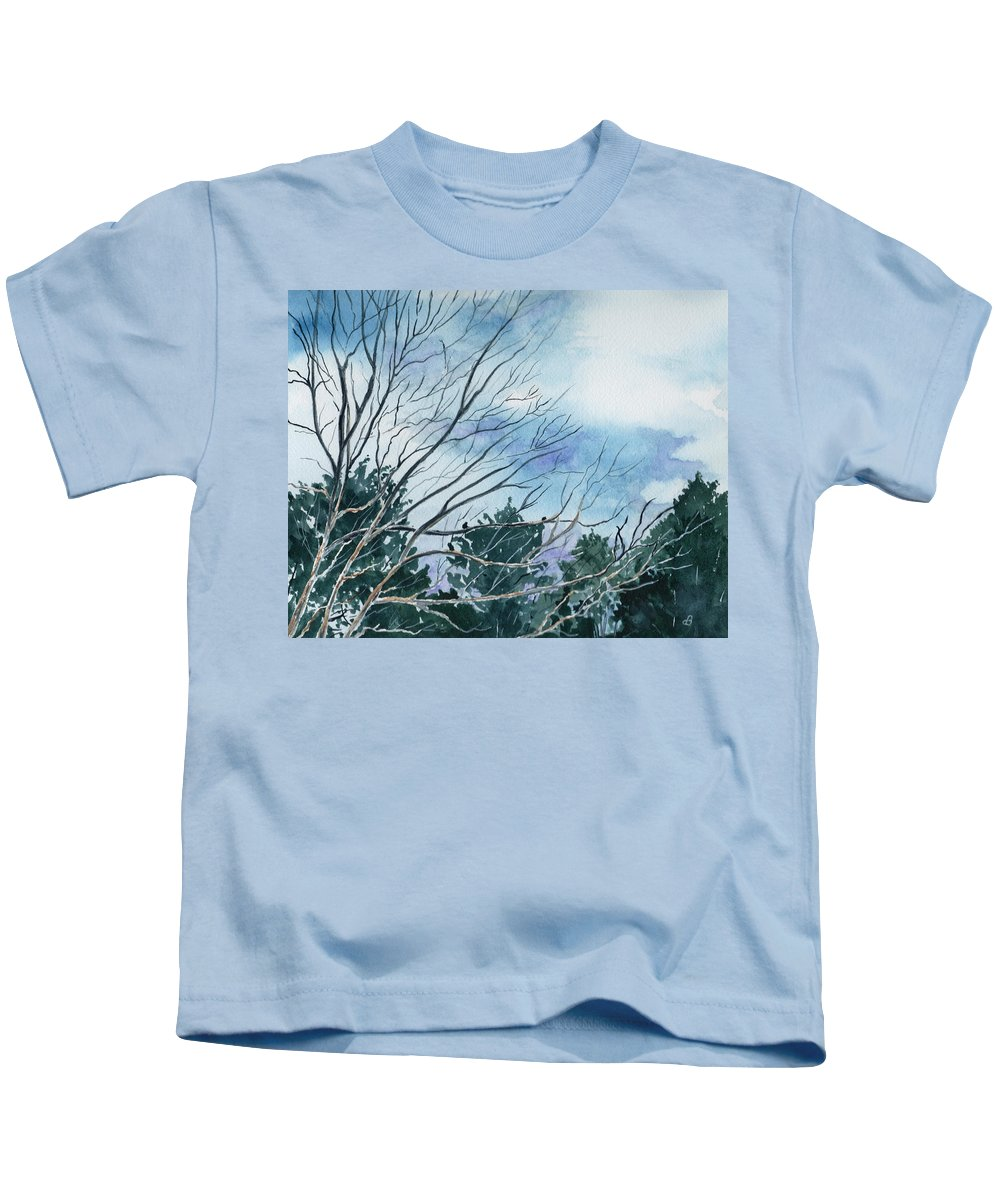 Watercolor Landscape Trees Sky Clouds Blue Kids T-Shirt featuring the painting Look To The Sky by Brenda Owen