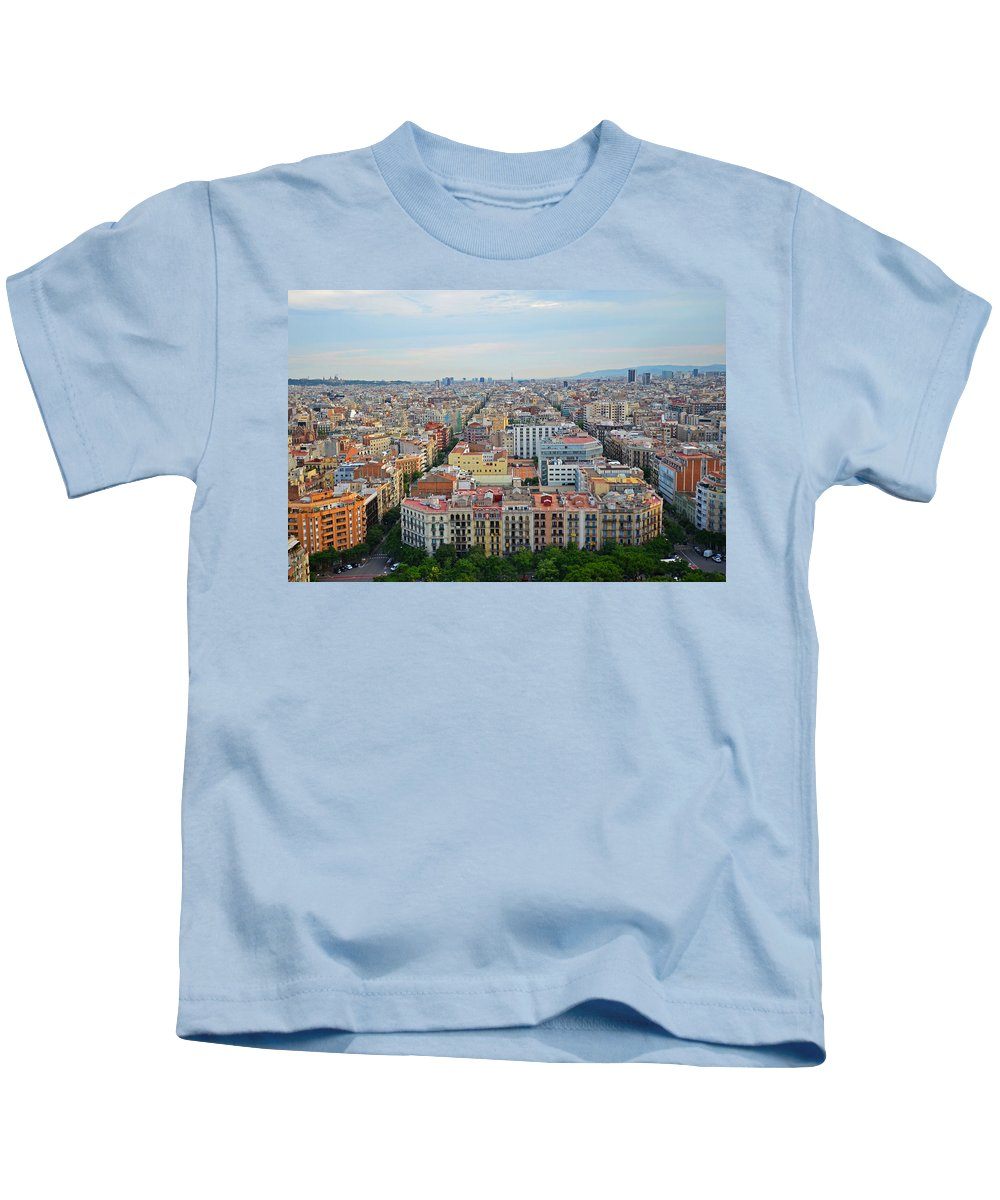 Barcelona Kids T-Shirt featuring the photograph Looking Down On Barcelona From The Sagrada Familia by Toby McGuire
