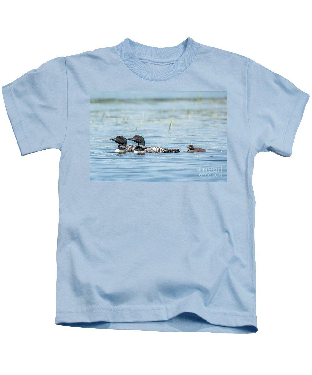Cheryl Baxter Photography Kids T-Shirt featuring the photograph Loon Family by Cheryl Baxter
