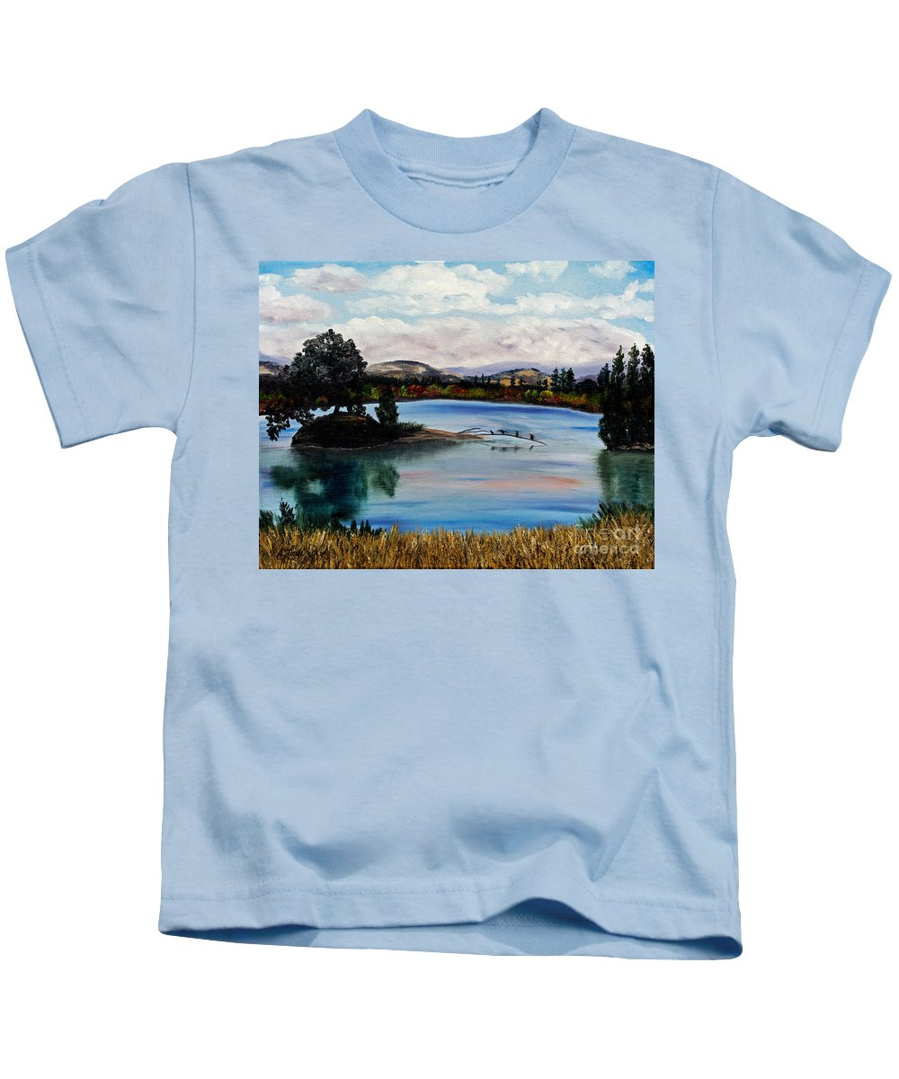 California Kids T-Shirt featuring the painting Los Gatos Lake by Laura Iverson