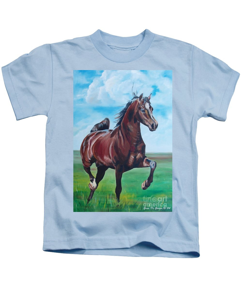 Horse Kids T-Shirt featuring the painting Lovely by Gina De Gorna