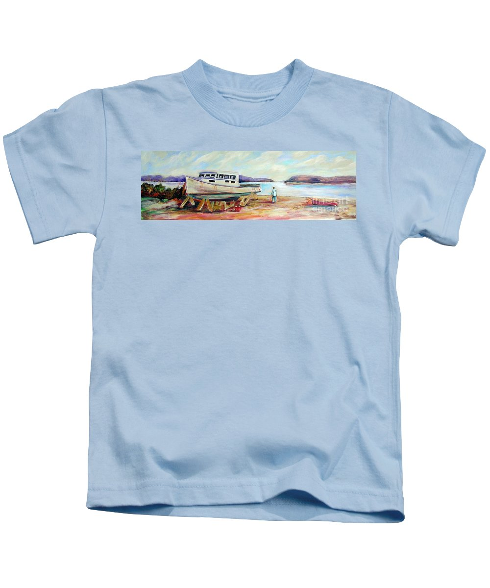 Boat Kids T-Shirt featuring the painting Lovie by Patricia Piffath