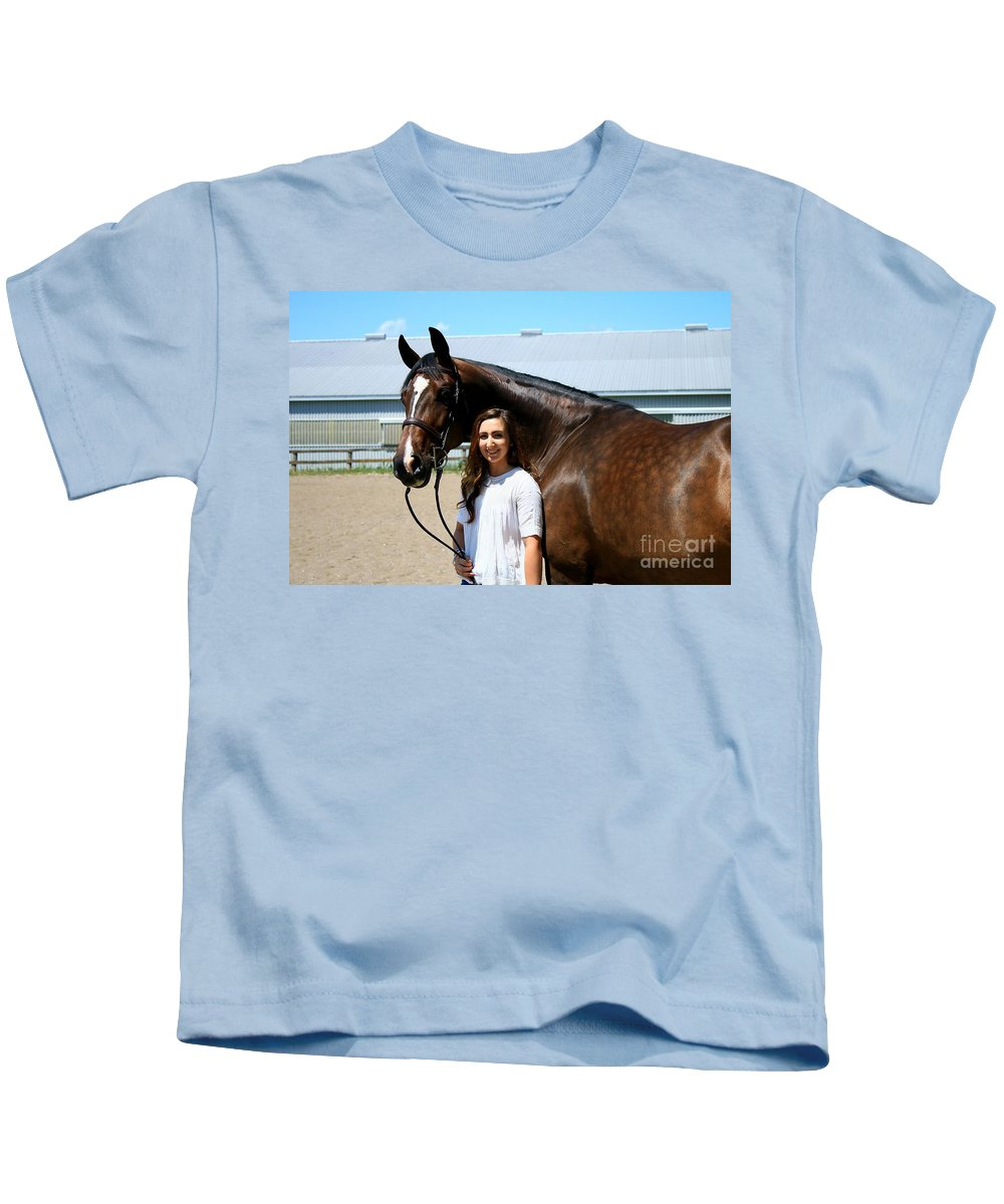 Kids T-Shirt featuring the photograph Lucia-cora2 by Life With Horses