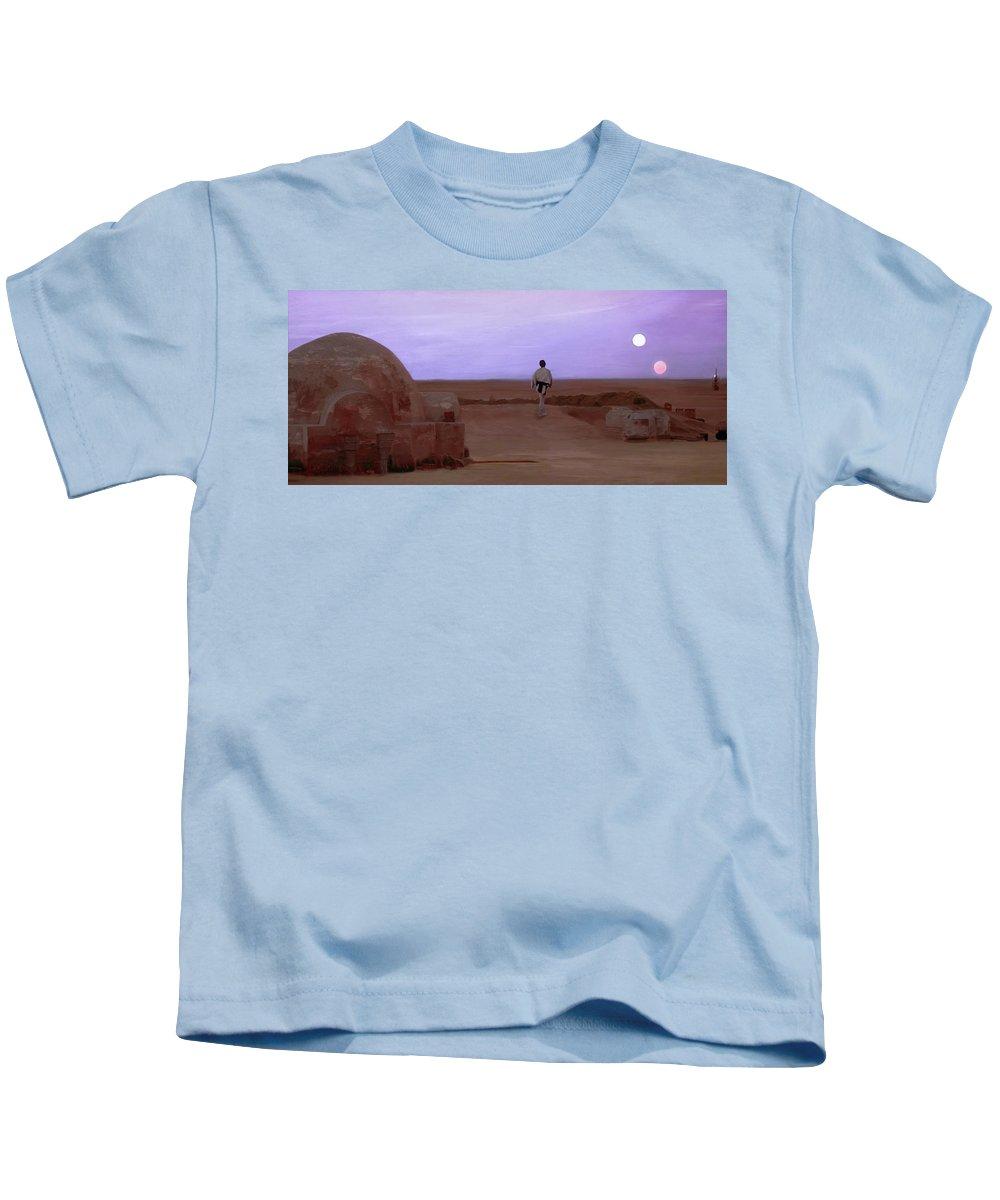Tatooine Kids T-Shirt featuring the mixed media Luke Skywalker Tatooine Sunset by Mitch Boyce