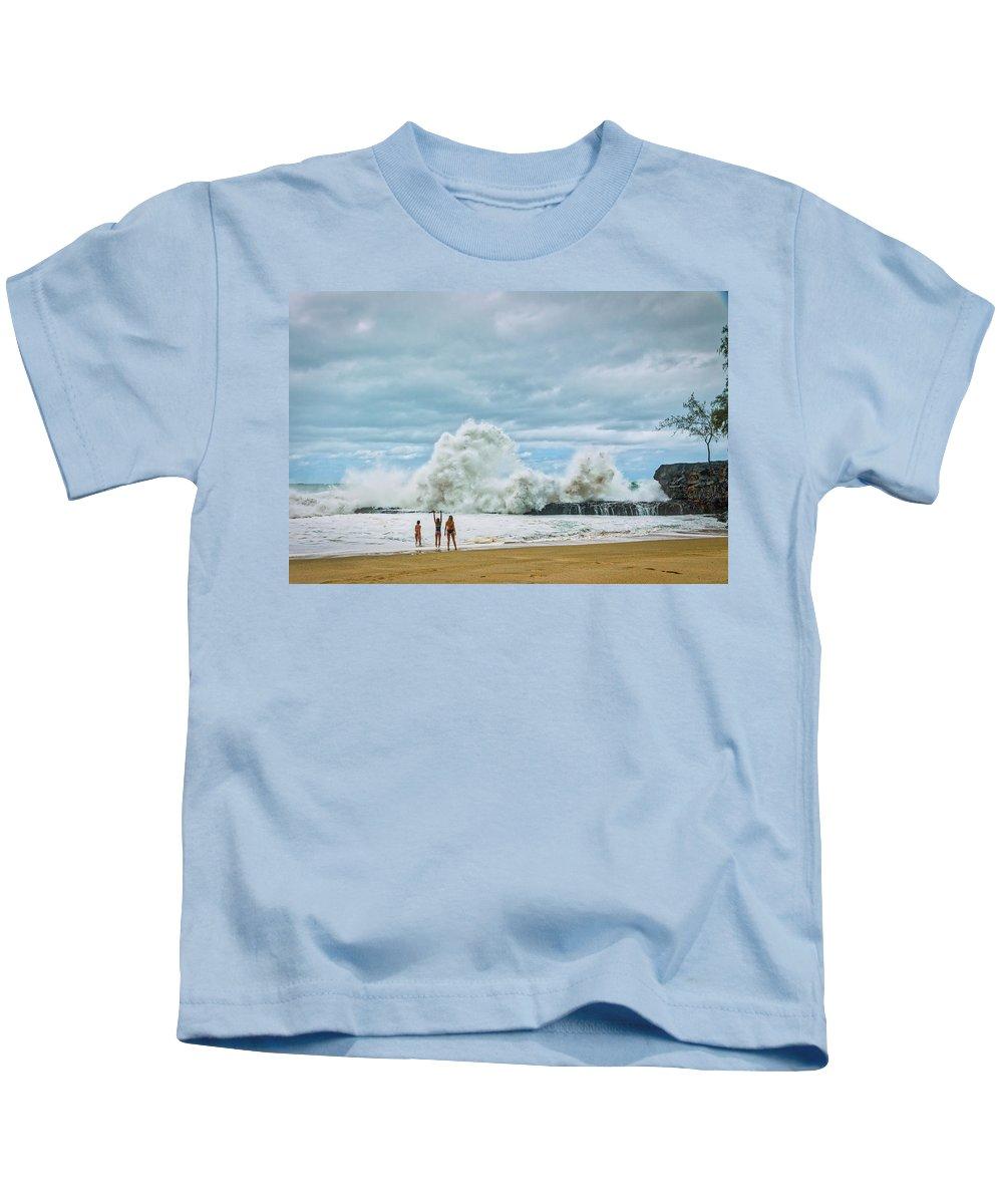 Lumahai Kids T-Shirt featuring the photograph Lumahai Winter by Gary Eyring
